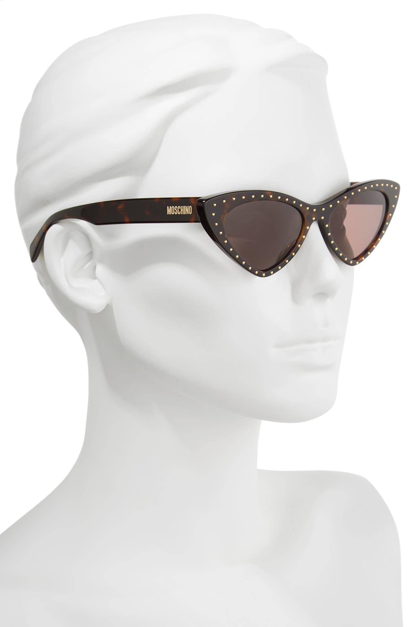 52mm Cat's Eye Sunglasses,                             Alternate thumbnail 2, color,                             Dark Havana