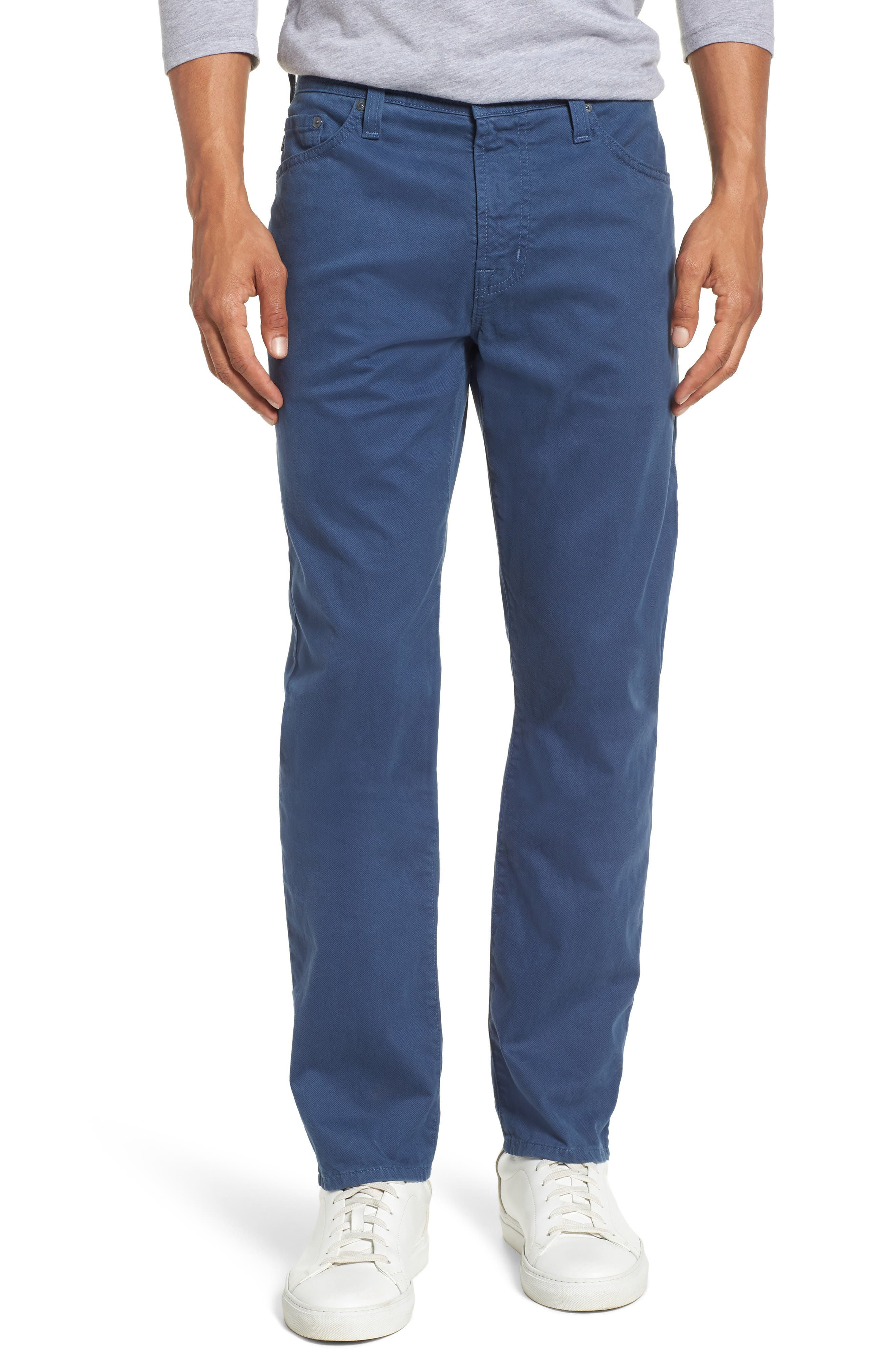 Main Image - AG Herringbone Everett SUD Straight Leg Pants