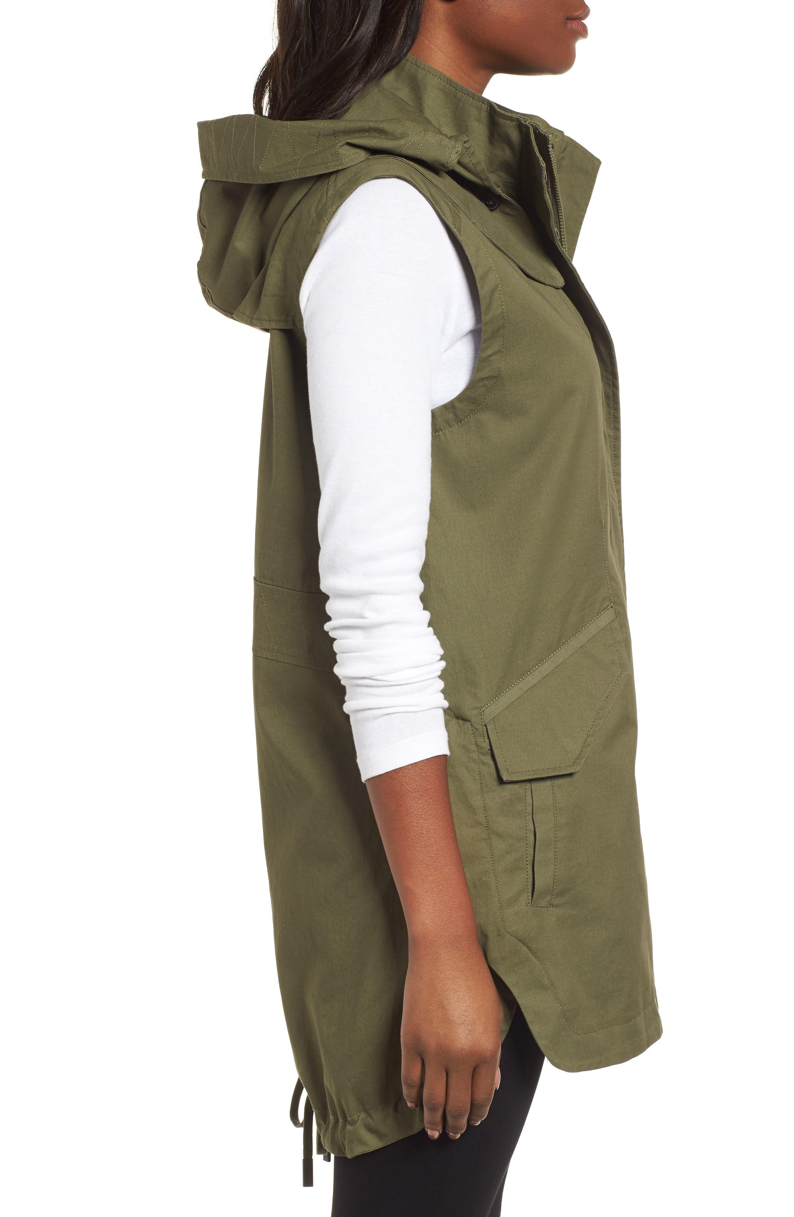 Elongated Hooded Vest,                             Alternate thumbnail 3, color,                             Loden