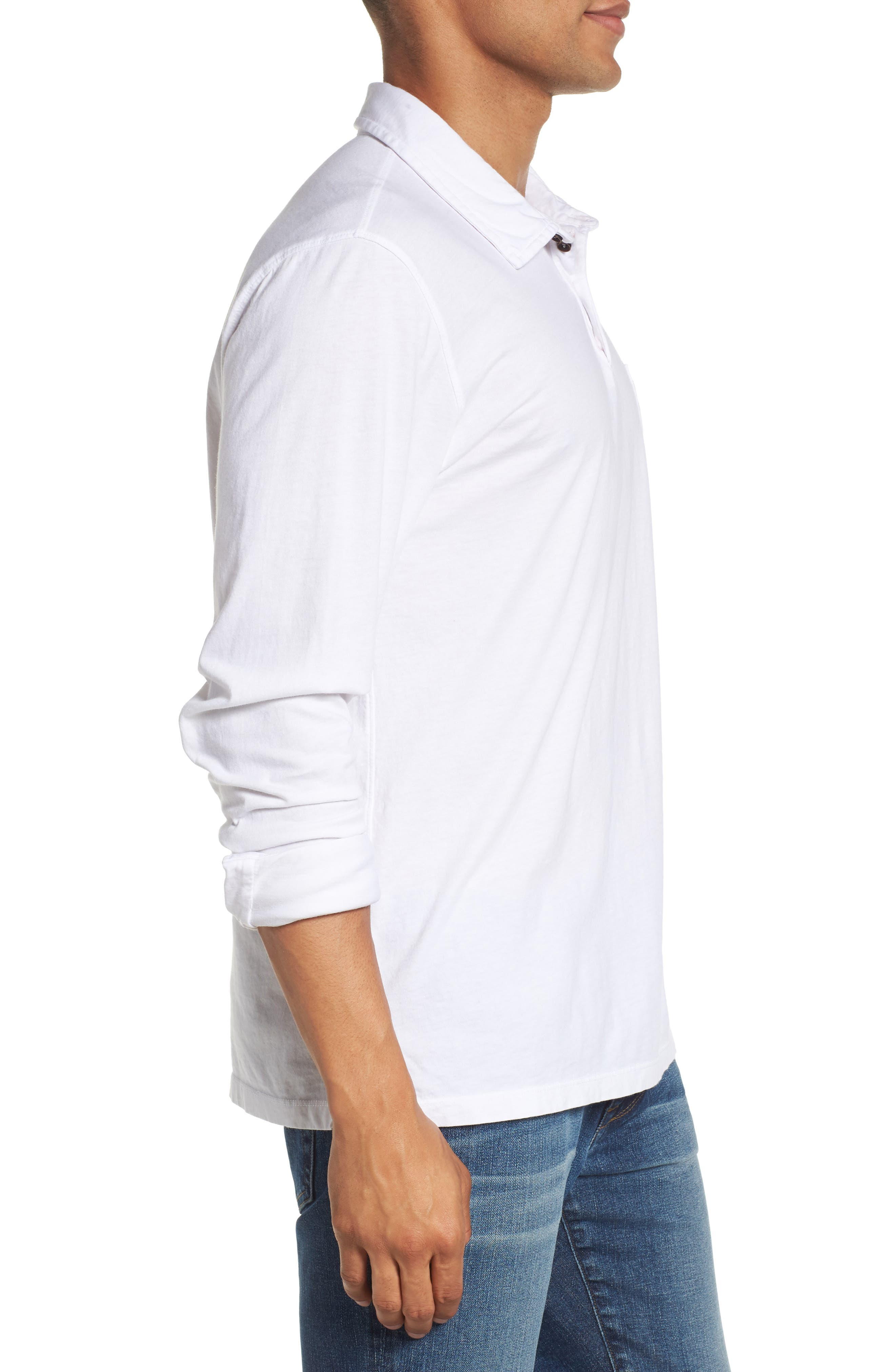 Long Sleeve Jersey Polo,                             Alternate thumbnail 3, color,                             White