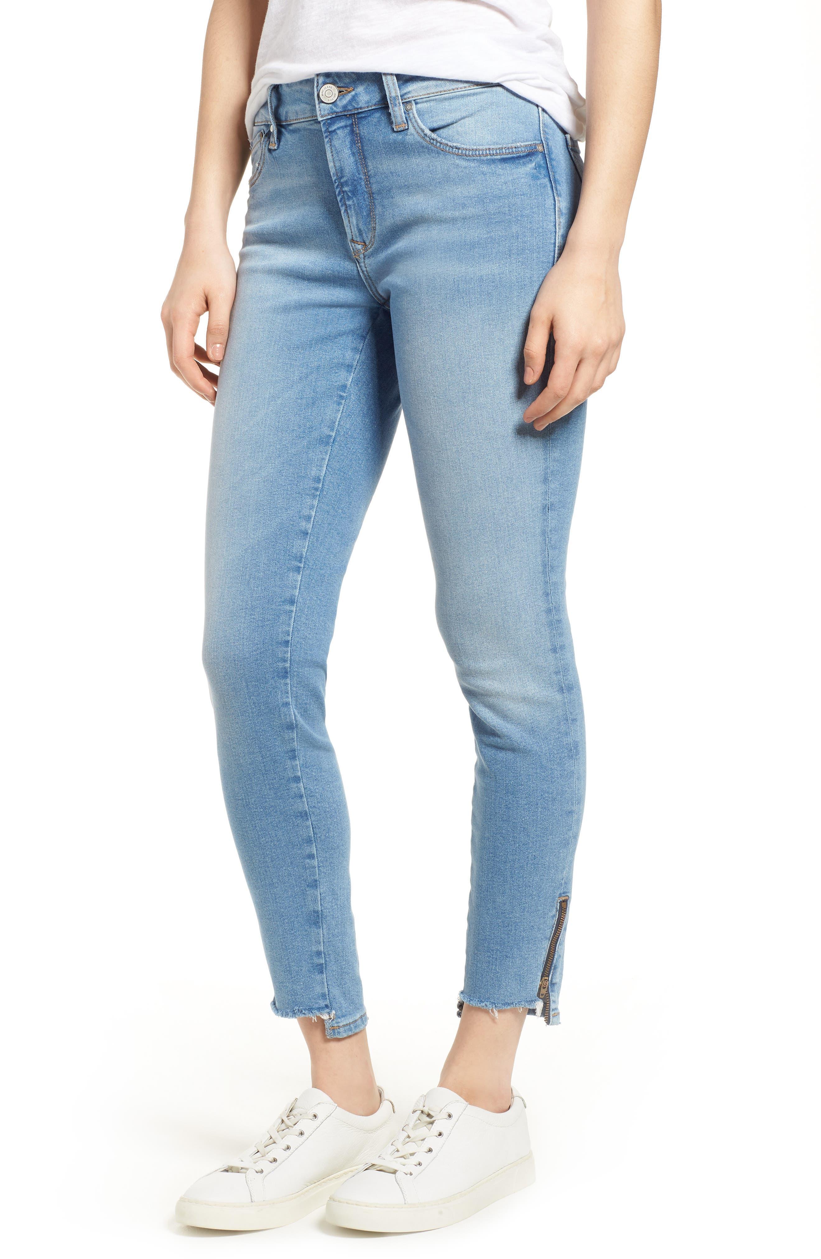 Adriana Ankle Zip Step Hem Jeans,                             Main thumbnail 1, color,                             Mid Fringe Nolita
