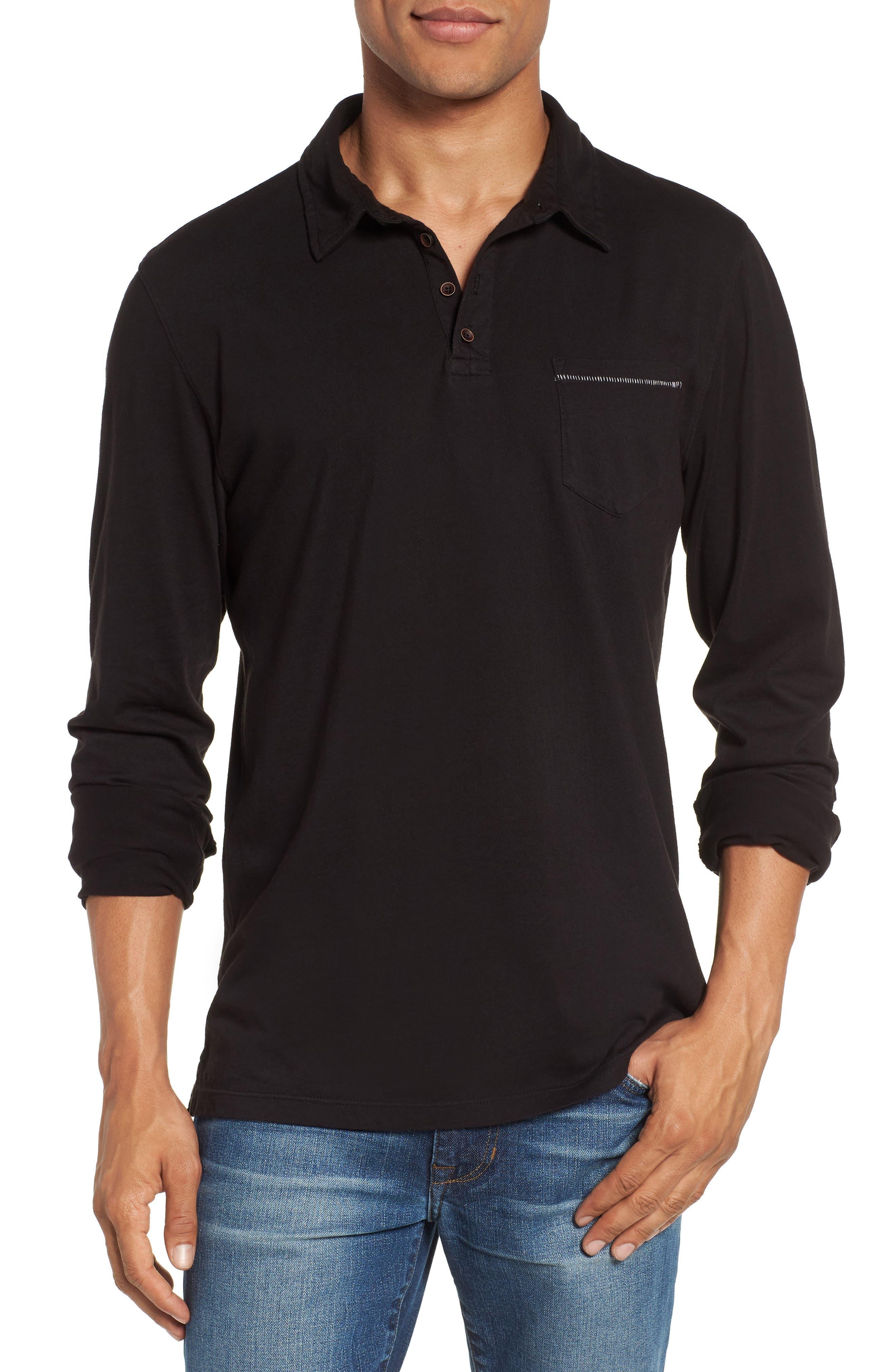 Long Sleeve Jersey Polo,                             Main thumbnail 1, color,                             Black