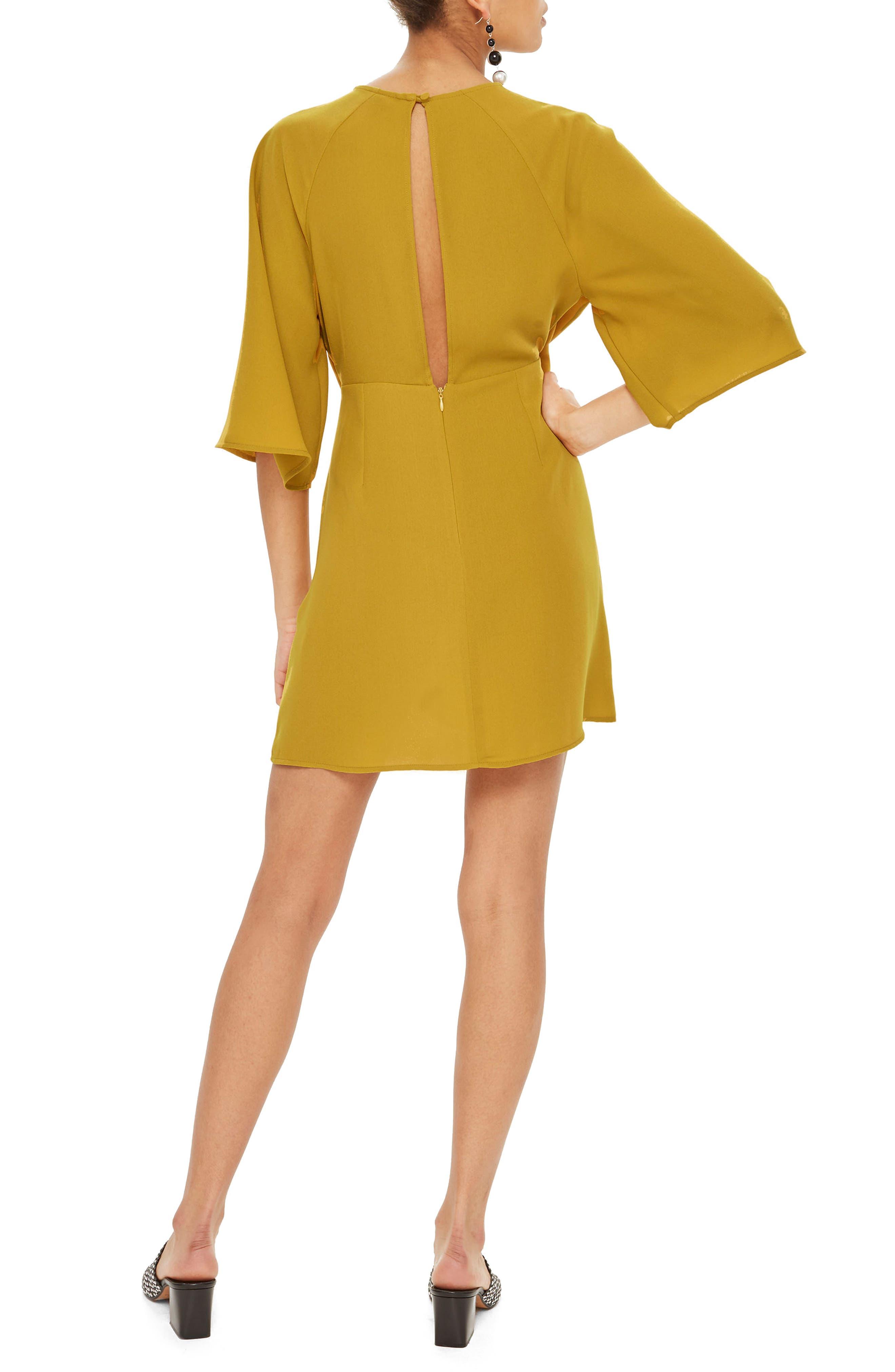 Tie Front Minidress,                             Alternate thumbnail 2, color,                             Mustard