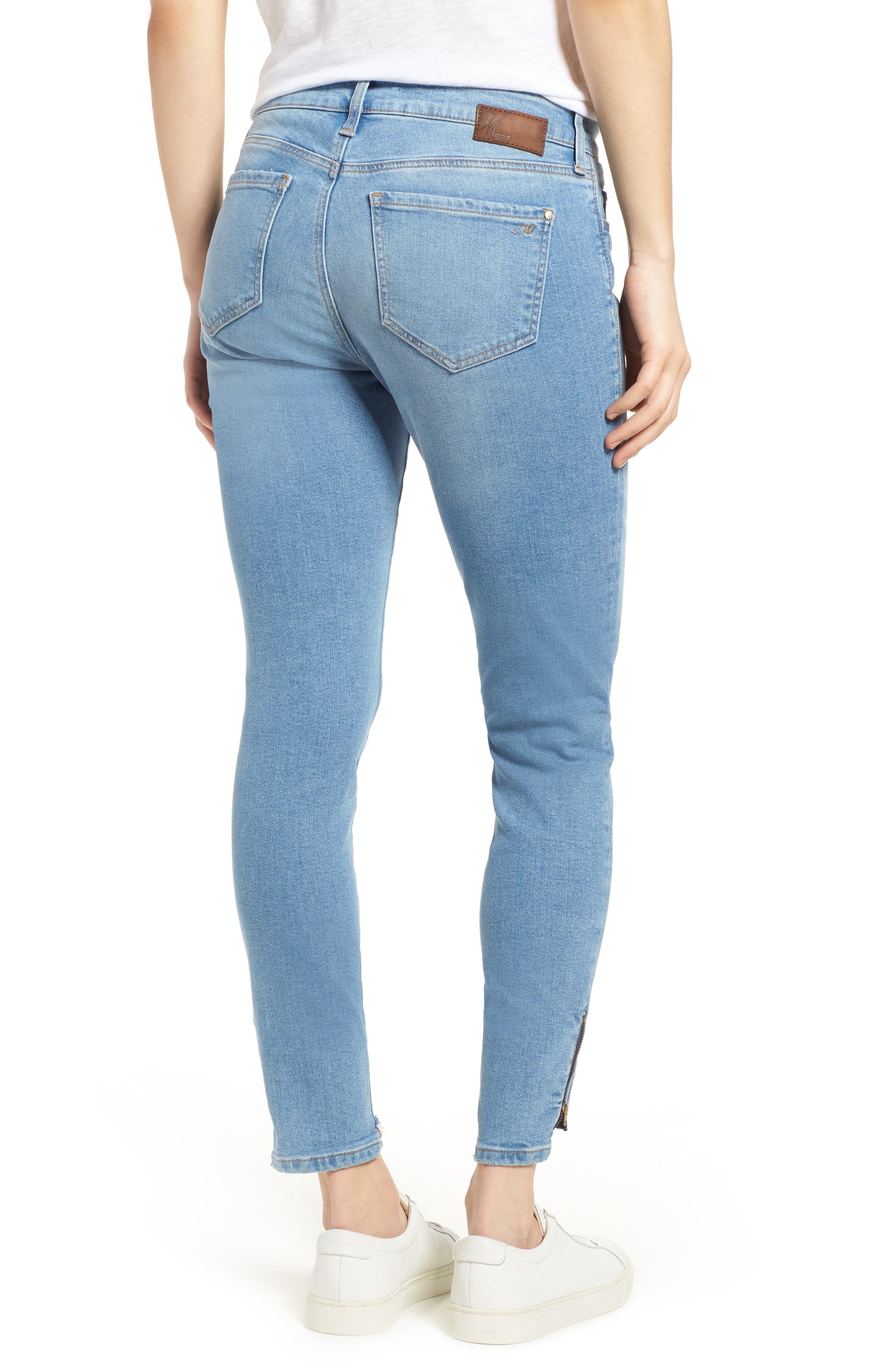 Adriana Ankle Zip Step Hem Jeans,                             Alternate thumbnail 2, color,                             Mid Fringe Nolita