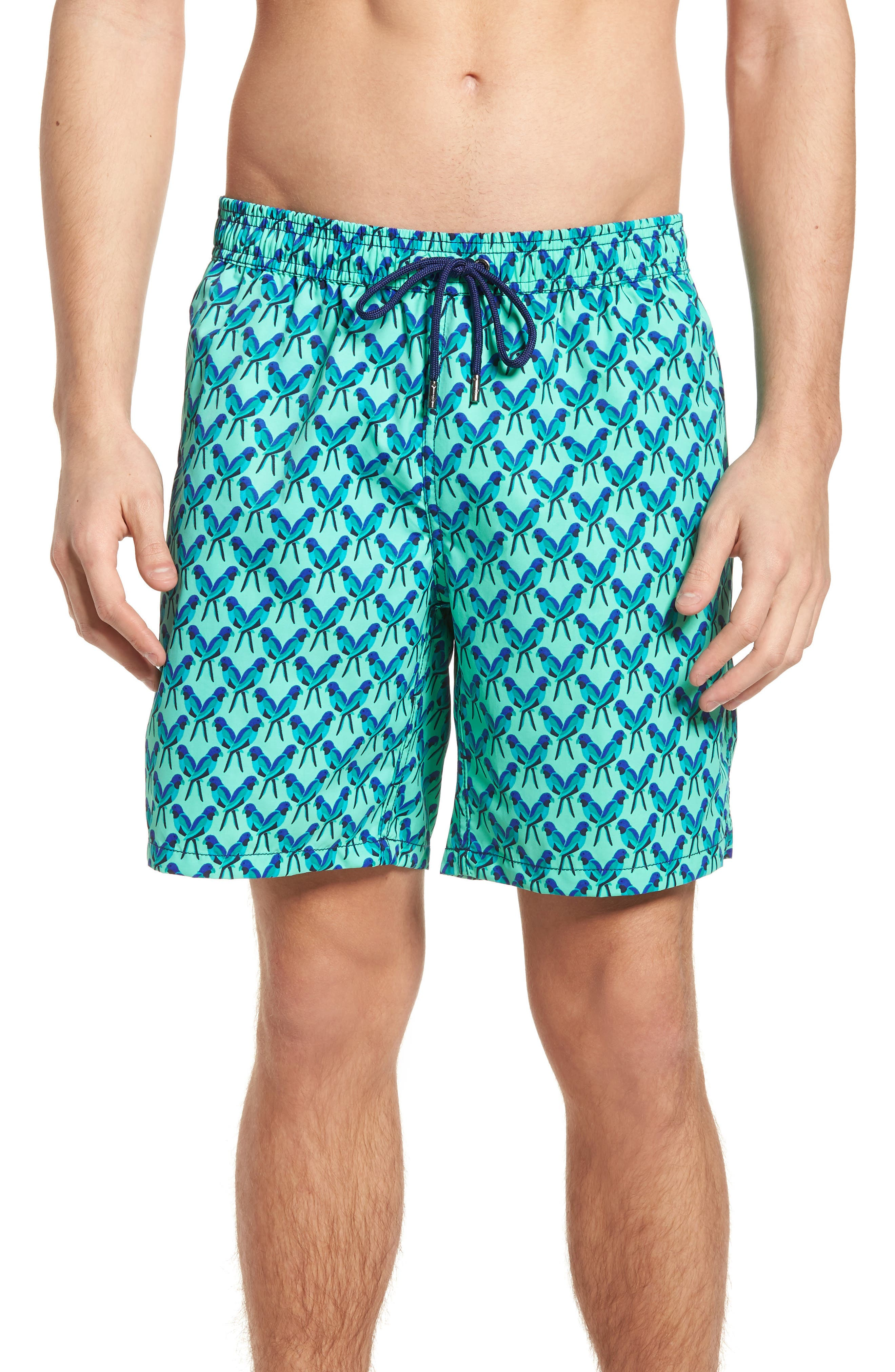Mr. Swim Trim Fit Print Swim Trunks,                         Main,                         color, Teal