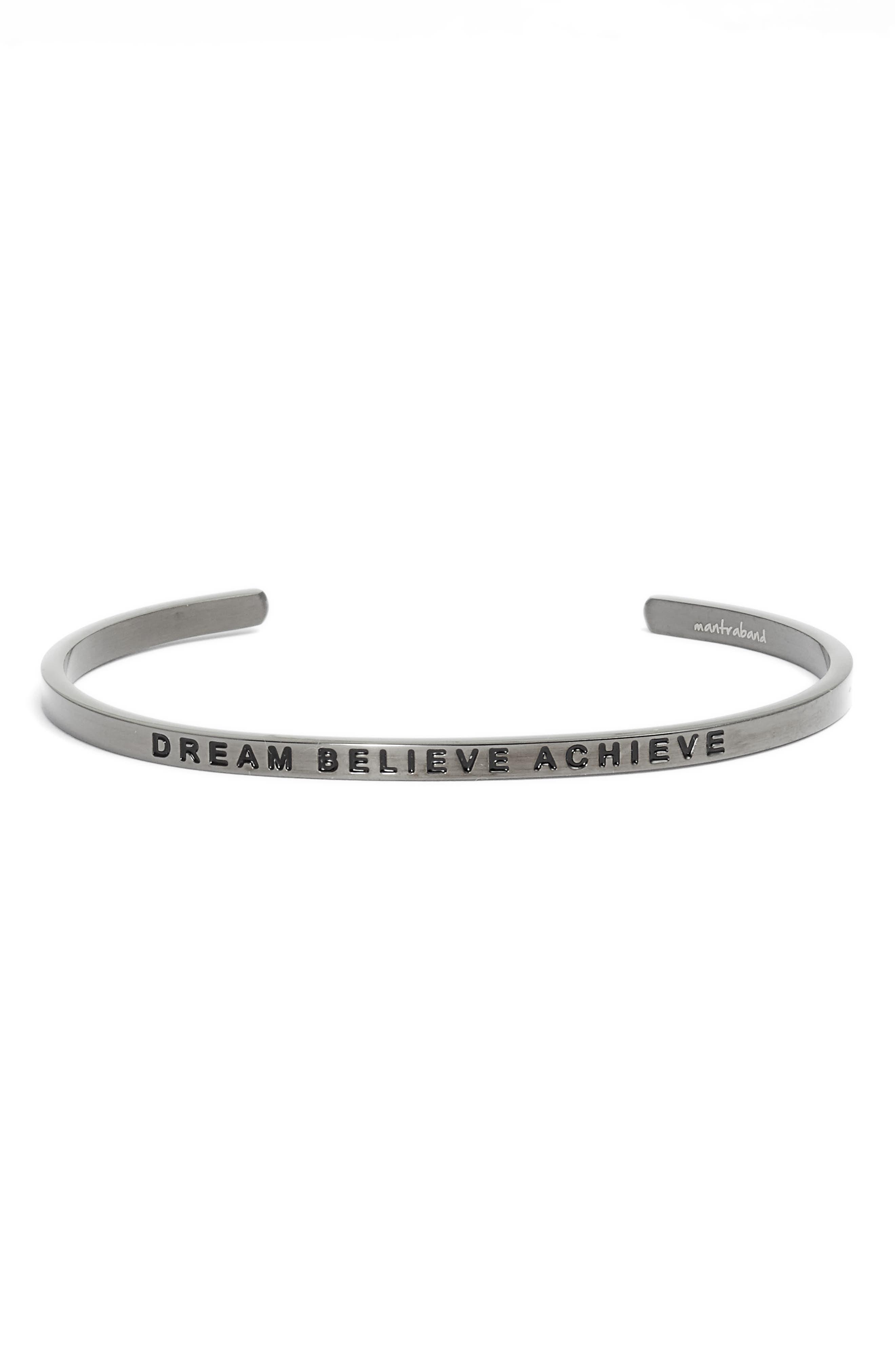 Dream Believe Achieve Cuff Bracelet,                         Main,                         color, Moon Gray