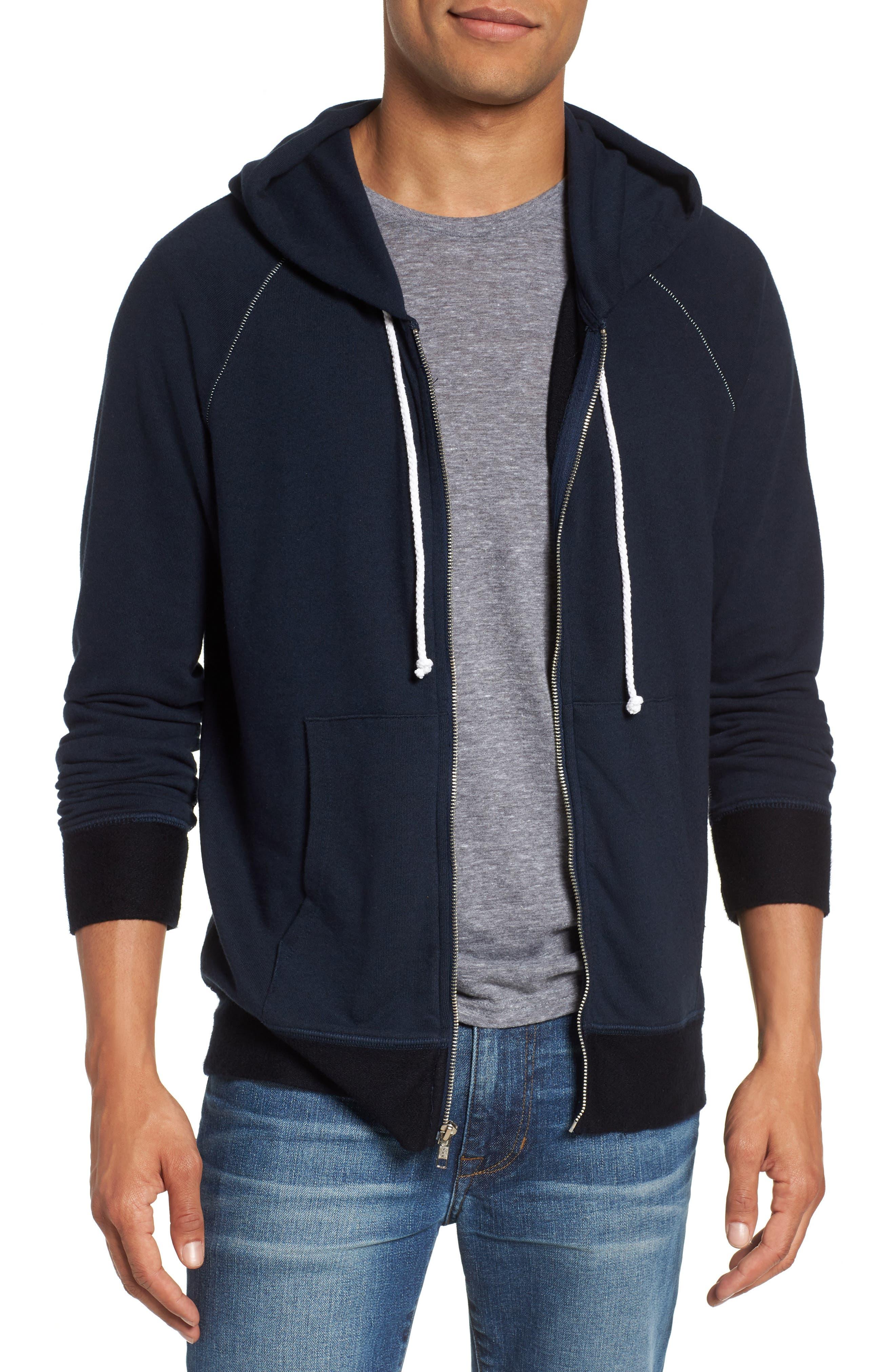 Slim Fit Zip Hoodie,                         Main,                         color, Navy