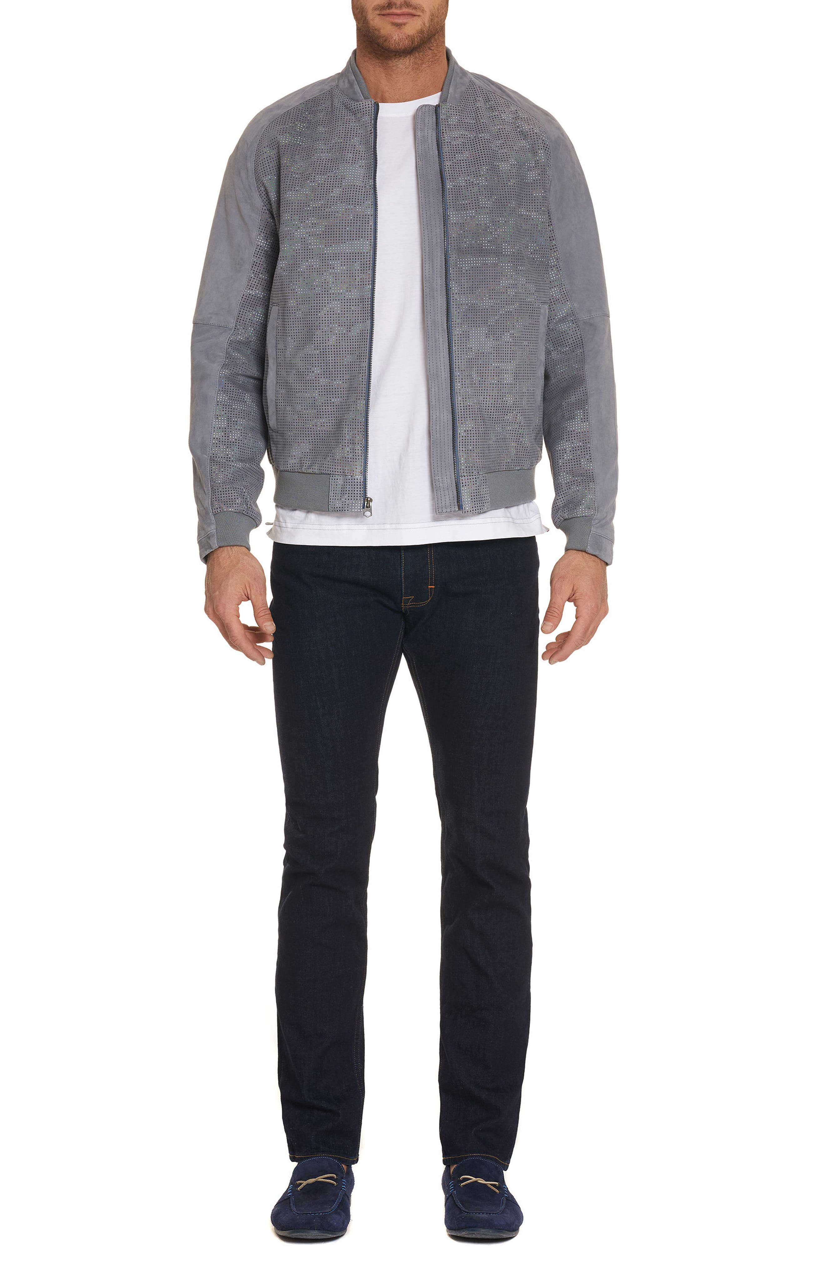 Ricardo Tailored Fit Suede Bomber Jacket,                             Alternate thumbnail 4, color,                             Grey