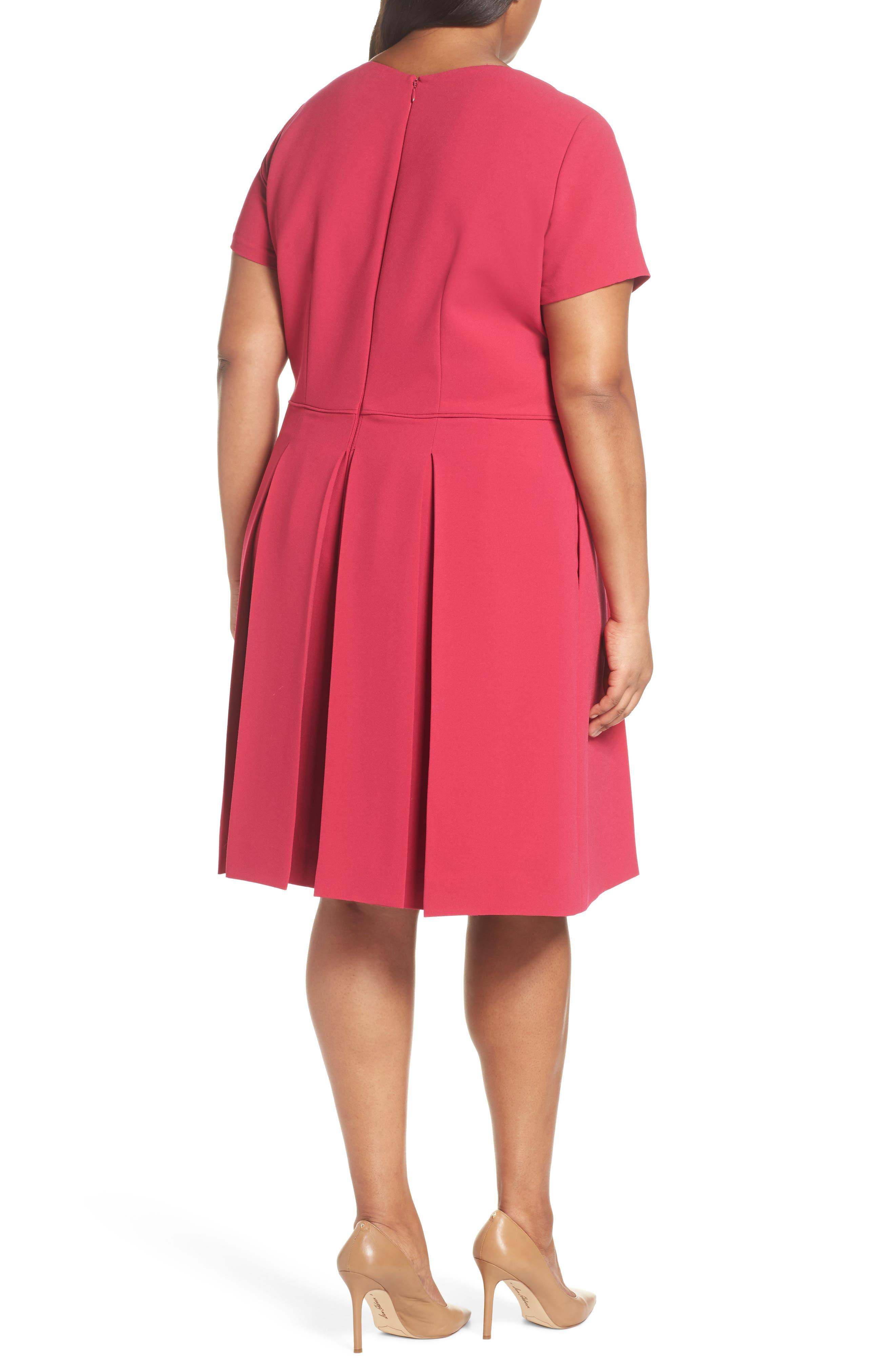 Alternate Image 2  - Tahari Scallop Neck A-Line Dress (Plus Size)