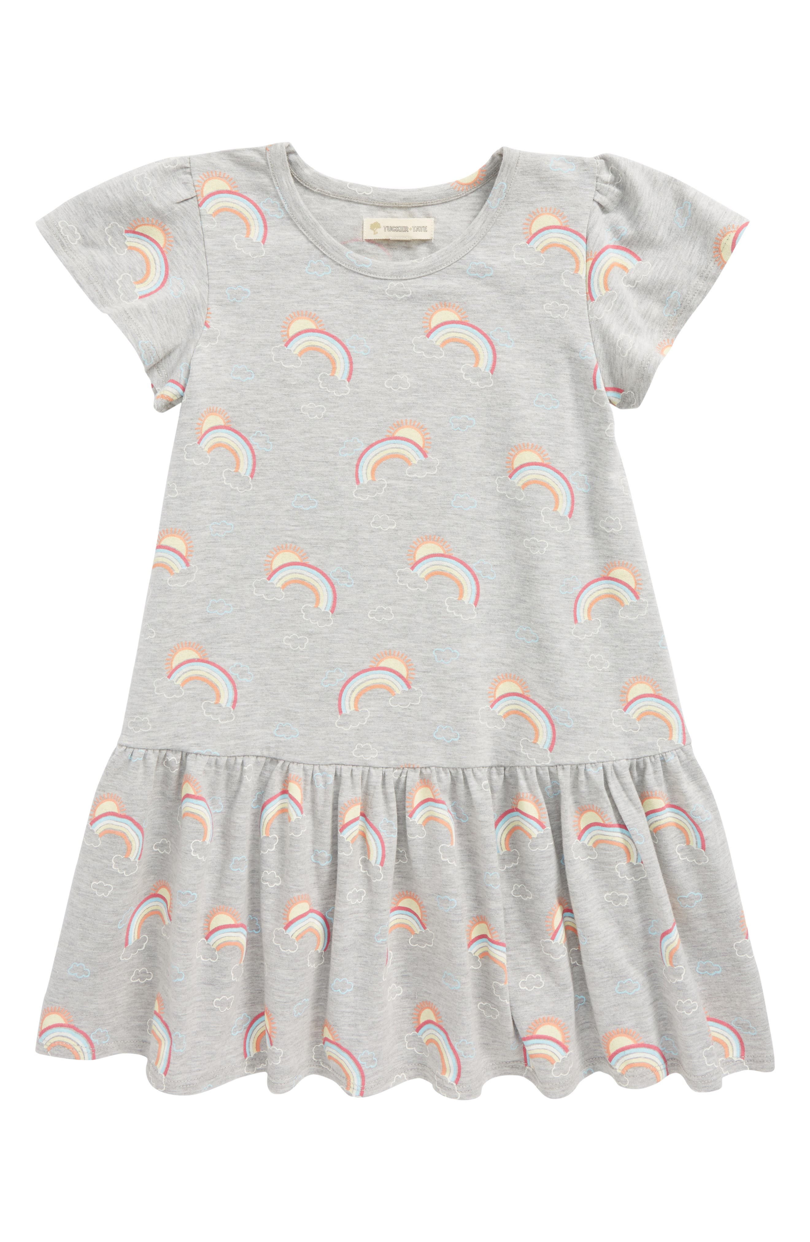 Tucker & Tate Print Jersey Dress,                         Main,                         color, Grey Ash Heather Rainbows