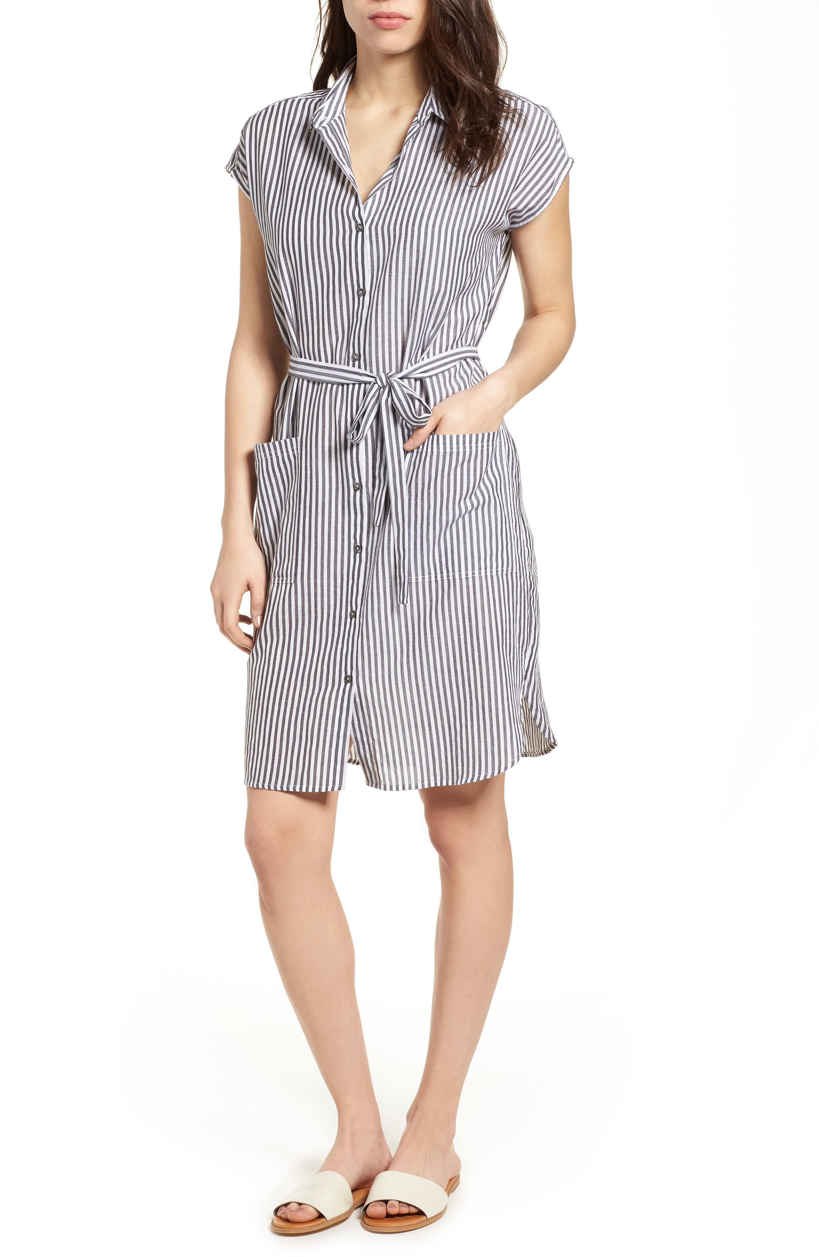 Stripe Belted Cotton Shirtdress,                             Main thumbnail 1, color,                             Charcoal Grey
