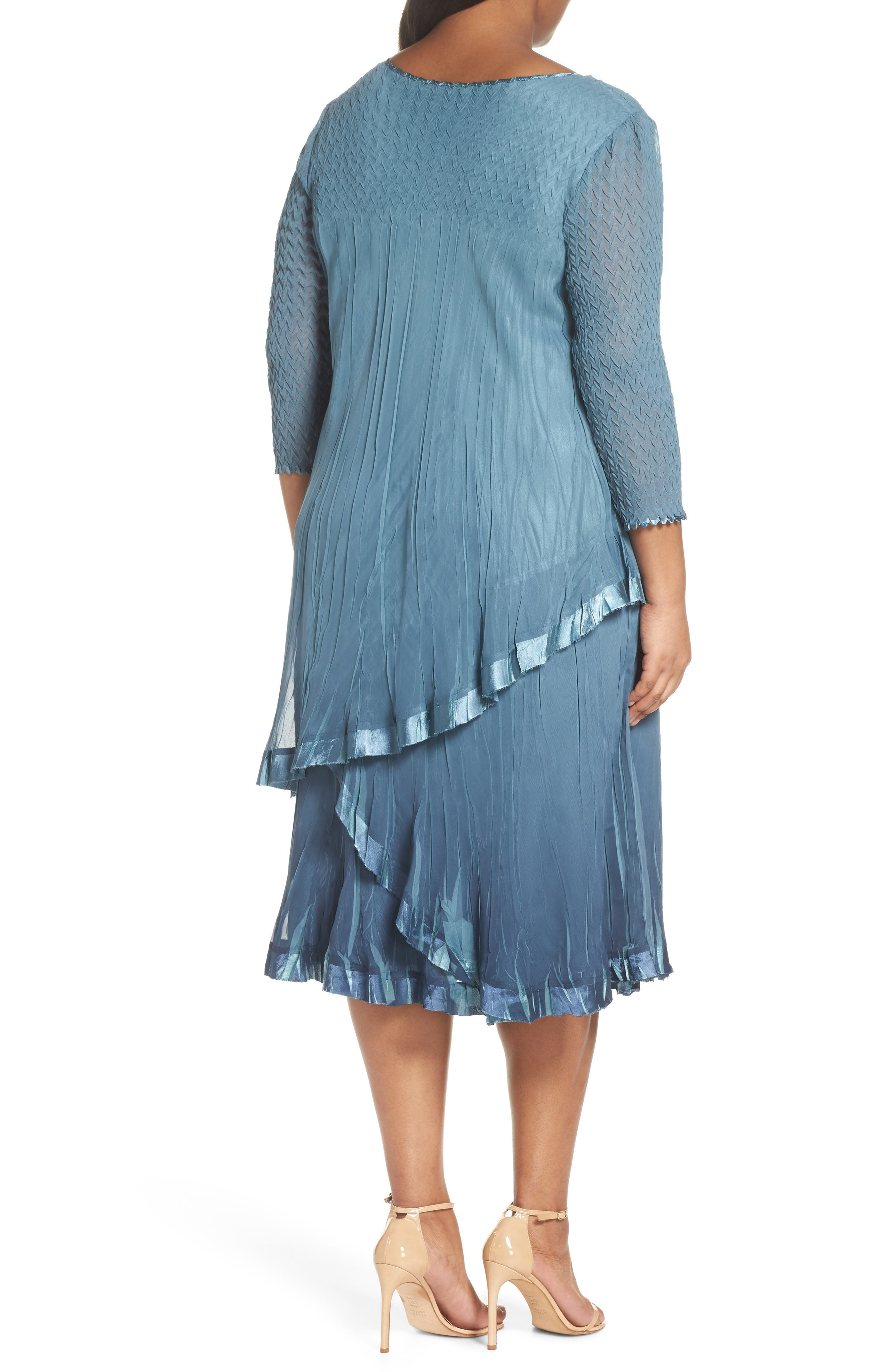 Bead Trim Tiered Chiffon Dress,                             Alternate thumbnail 2, color,                             Silver Blue Night Ombre