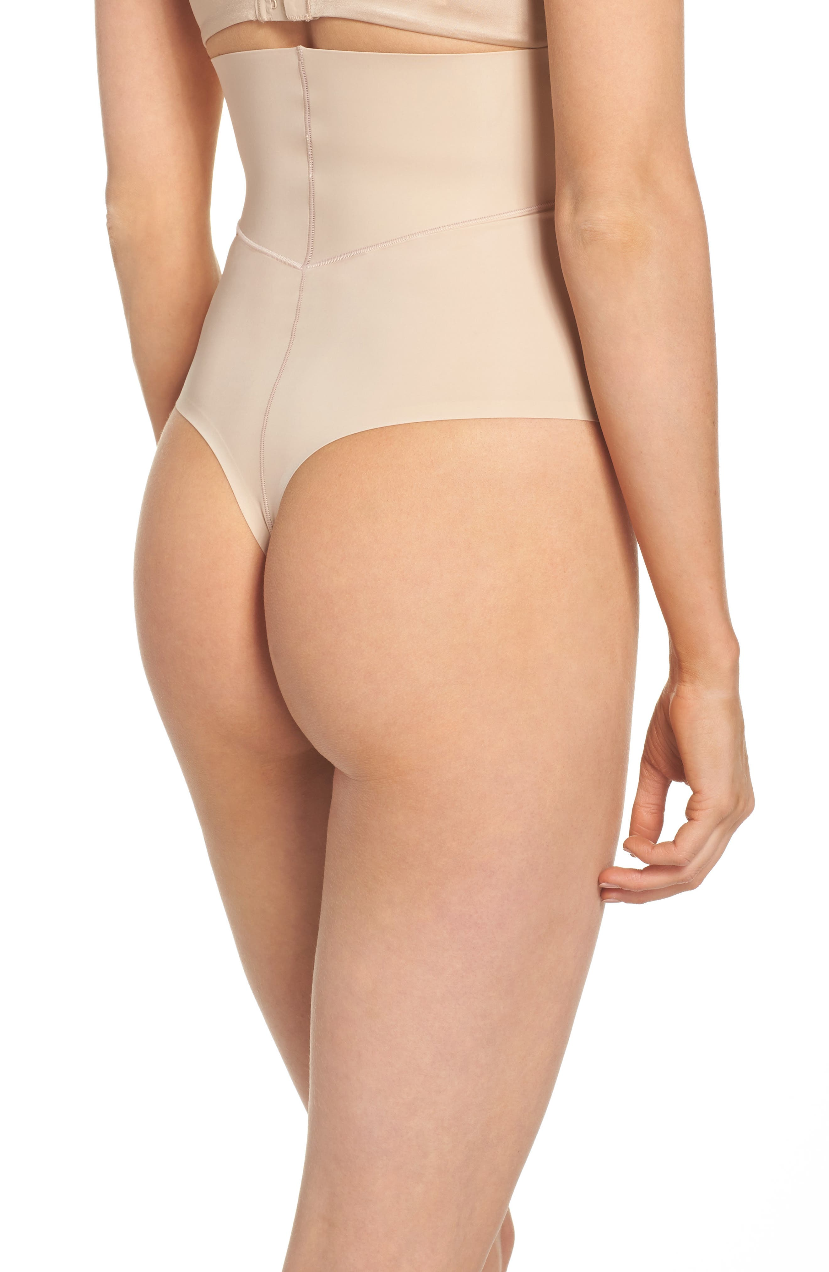 Sculpted Shapewear High Waist Thong,                             Alternate thumbnail 2, color,                             Bare