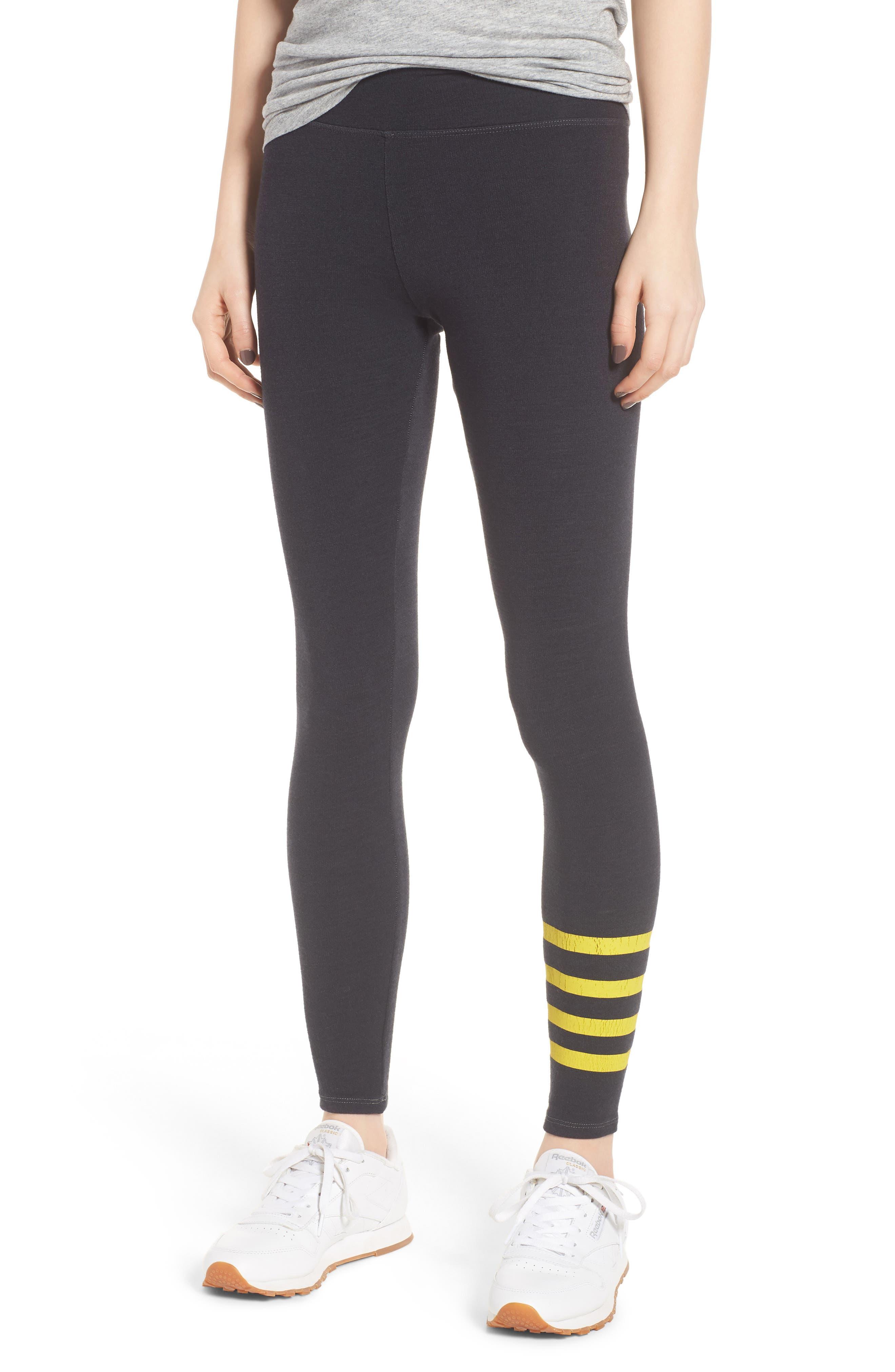 Stripe Yoga Pants,                             Main thumbnail 1, color,                             Old Black