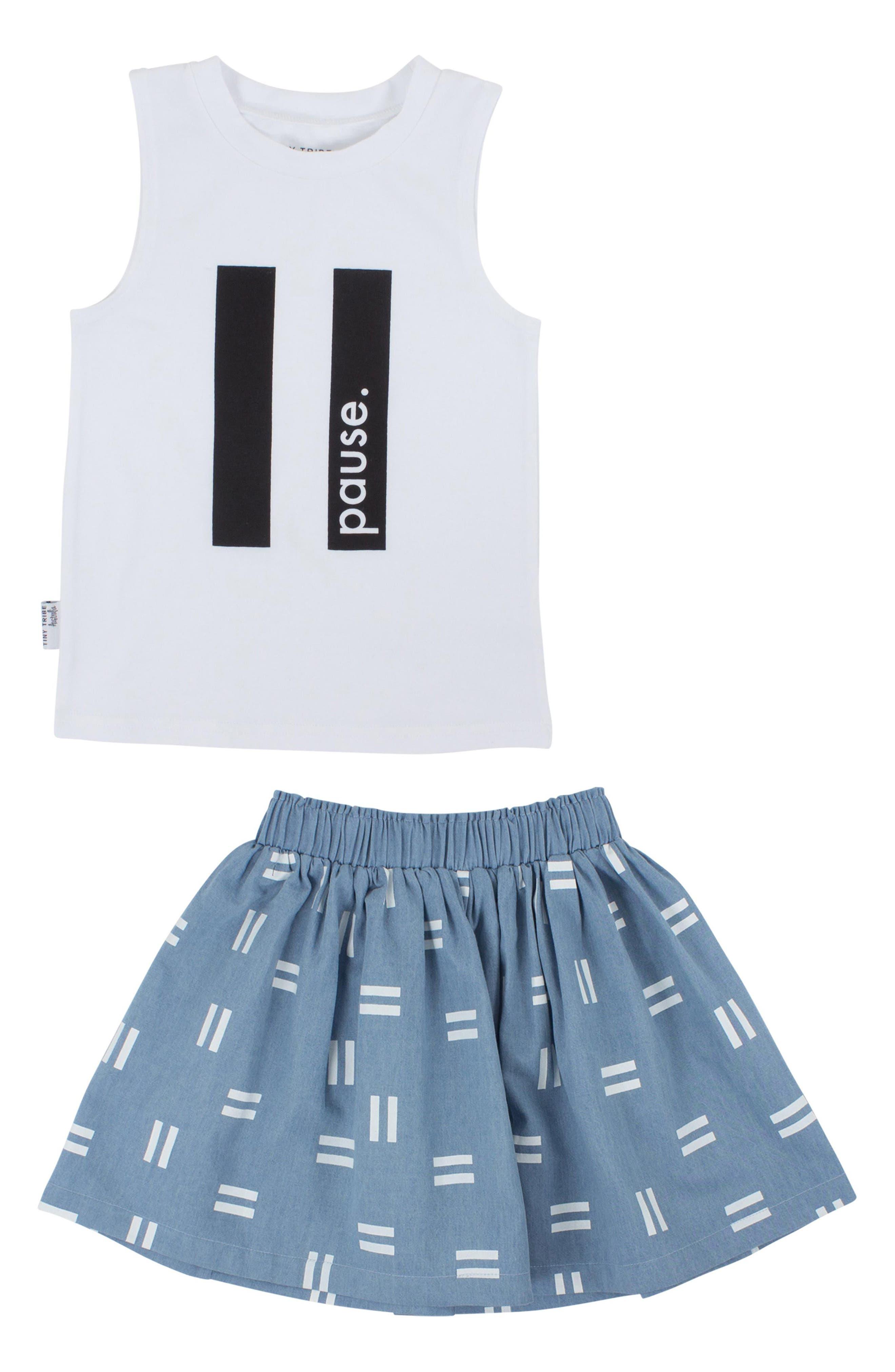 Pause Tank & Chambray Skirt Set,                             Main thumbnail 1, color,                             White/ Chambray