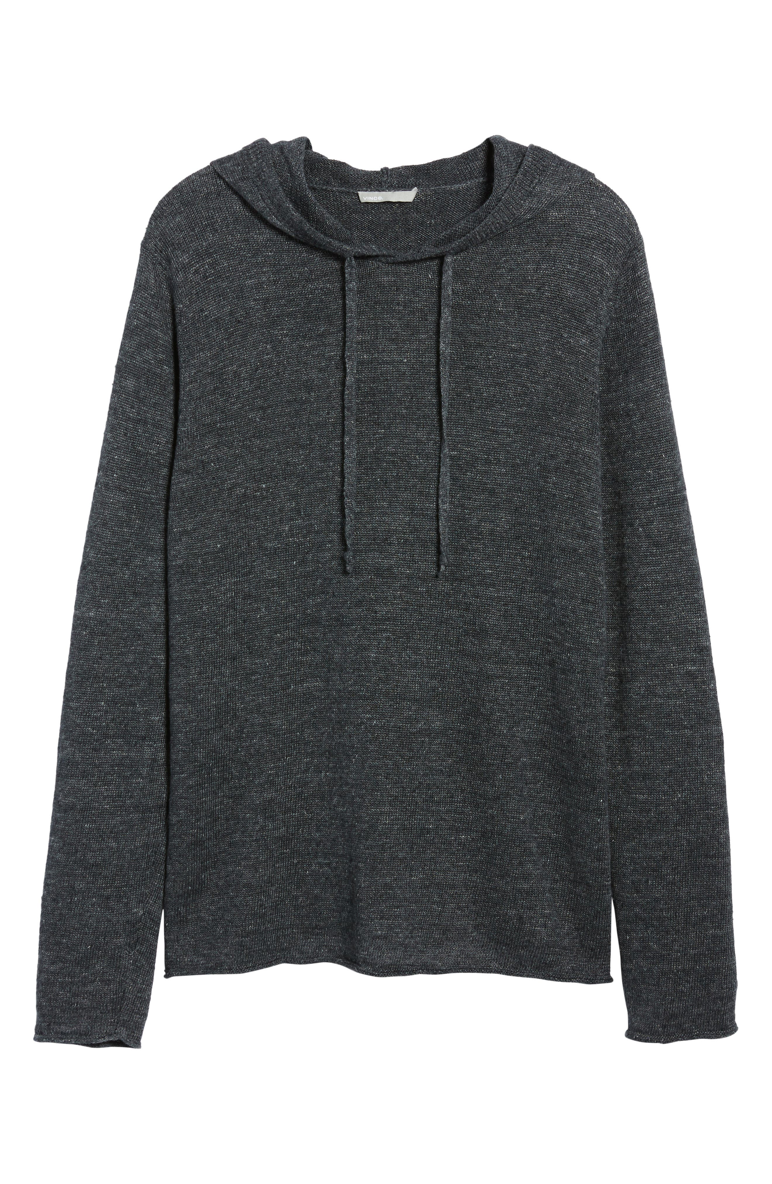 Slim Fit Linen Pullover Hoodie,                             Alternate thumbnail 6, color,                             Black