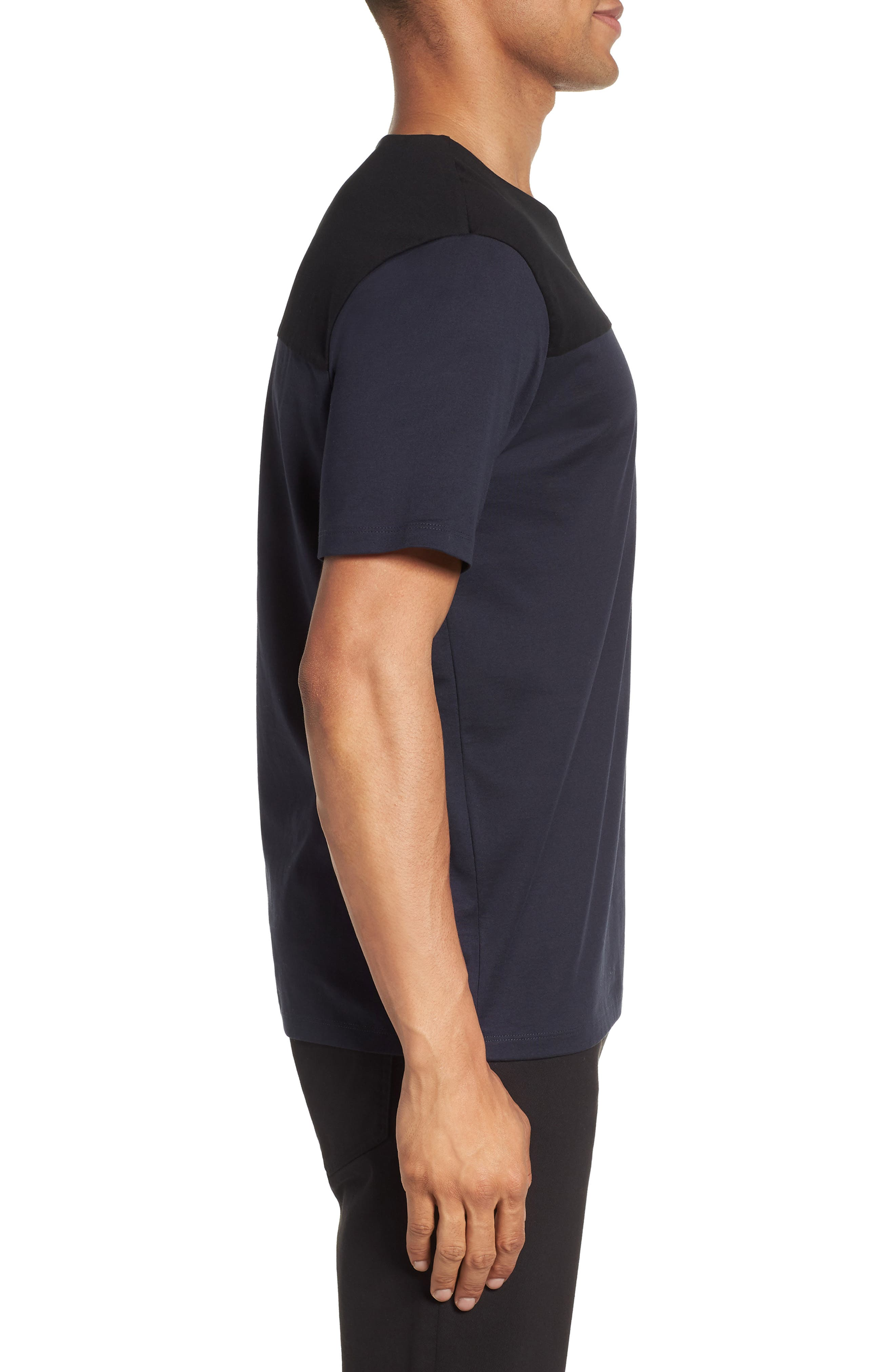 Block Crewneck T-Shirt,                             Alternate thumbnail 3, color,                             Navy Night Block