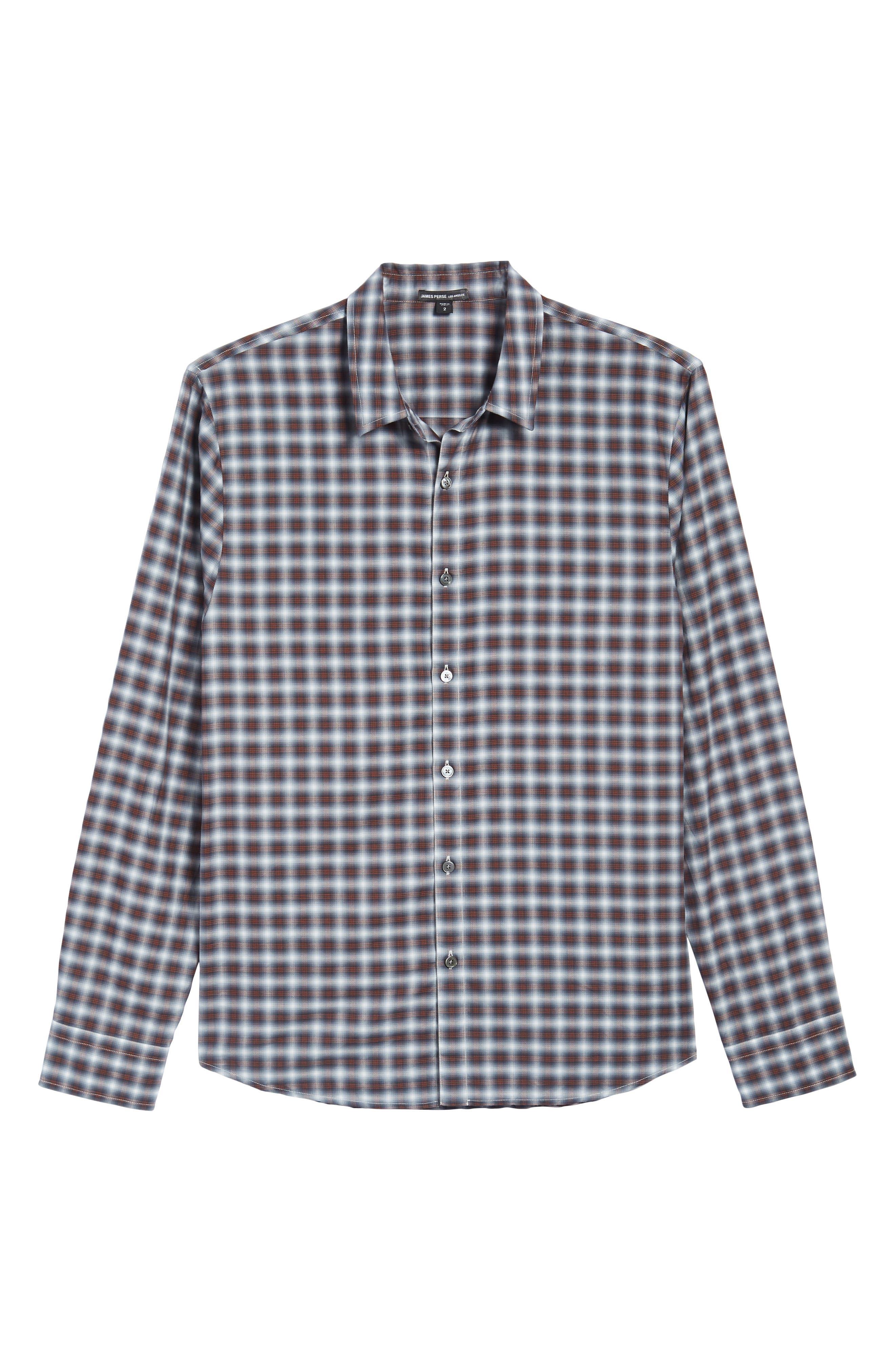 Regular Fit Plaid Sport Shirt,                             Alternate thumbnail 6, color,                             Orange Variation