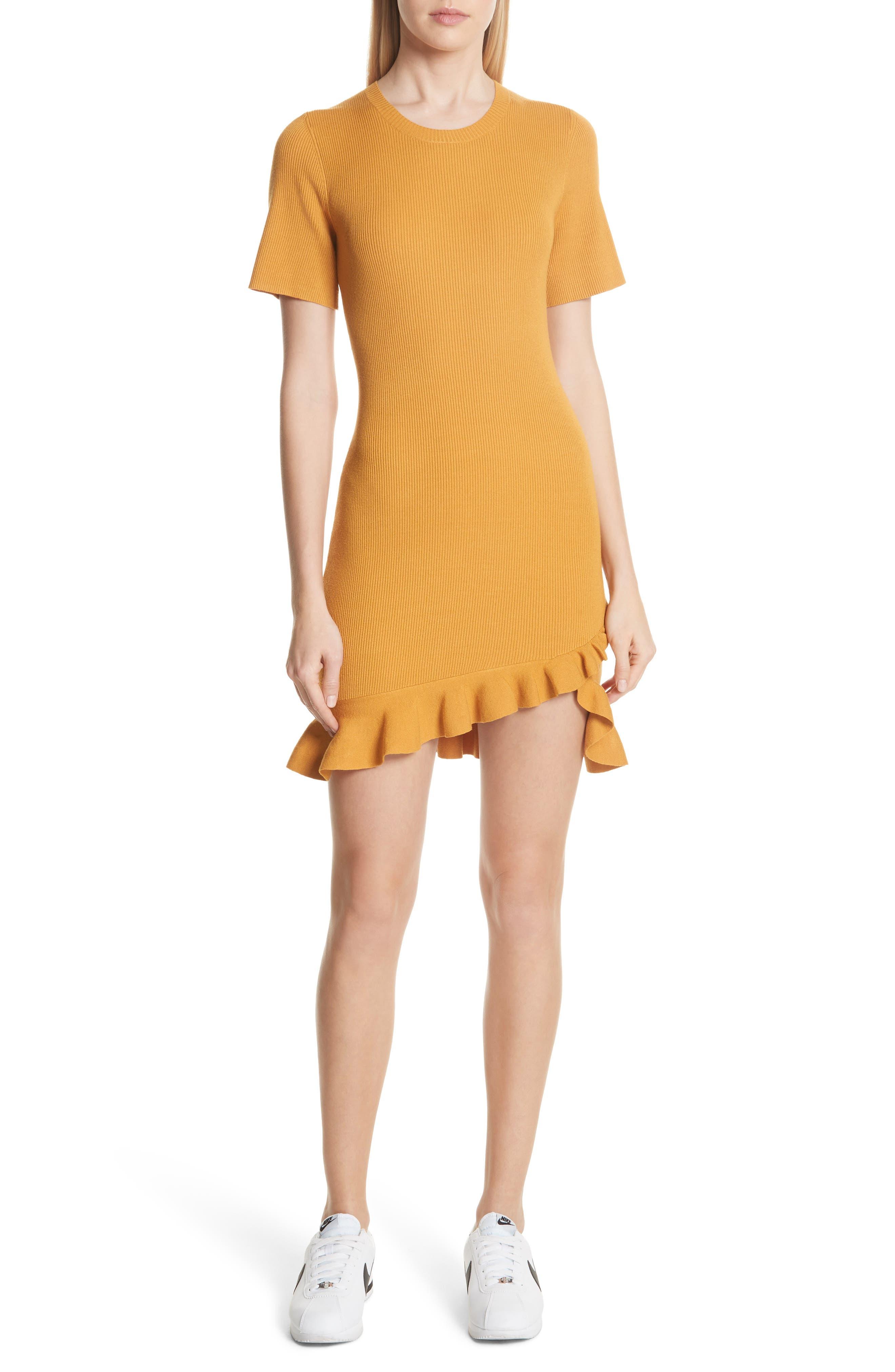 Tulum Ribbed Ruffle Hem Dress,                         Main,                         color, Putty Yellow