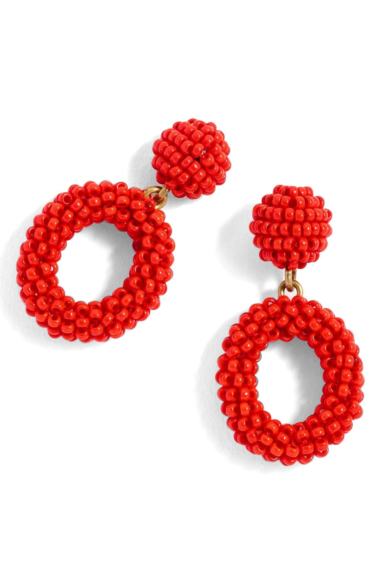 Mini Beaded Drop-Hoop Earrings,                         Main,                         color, Fiery Sunset