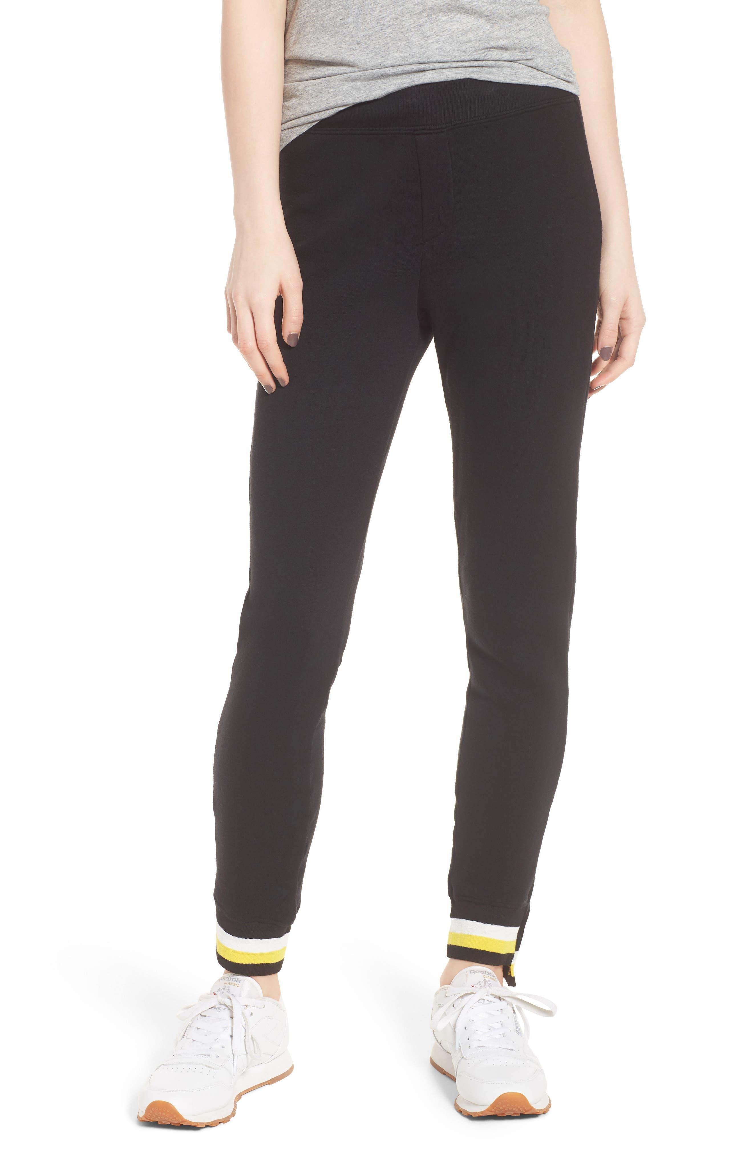 Stripe Trim Step Hem Sweatpants,                             Main thumbnail 1, color,                             Black