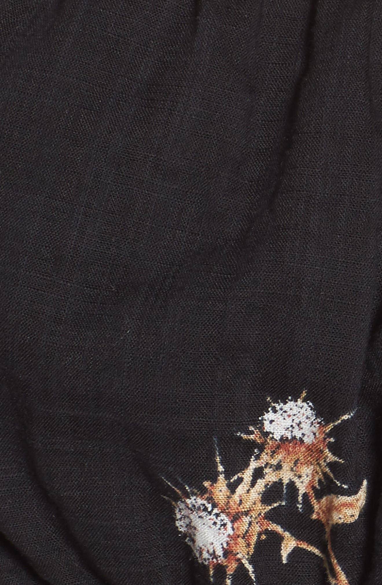 Puff Sleeve Crop Top,                             Alternate thumbnail 7, color,                             Black Washy Bouquet