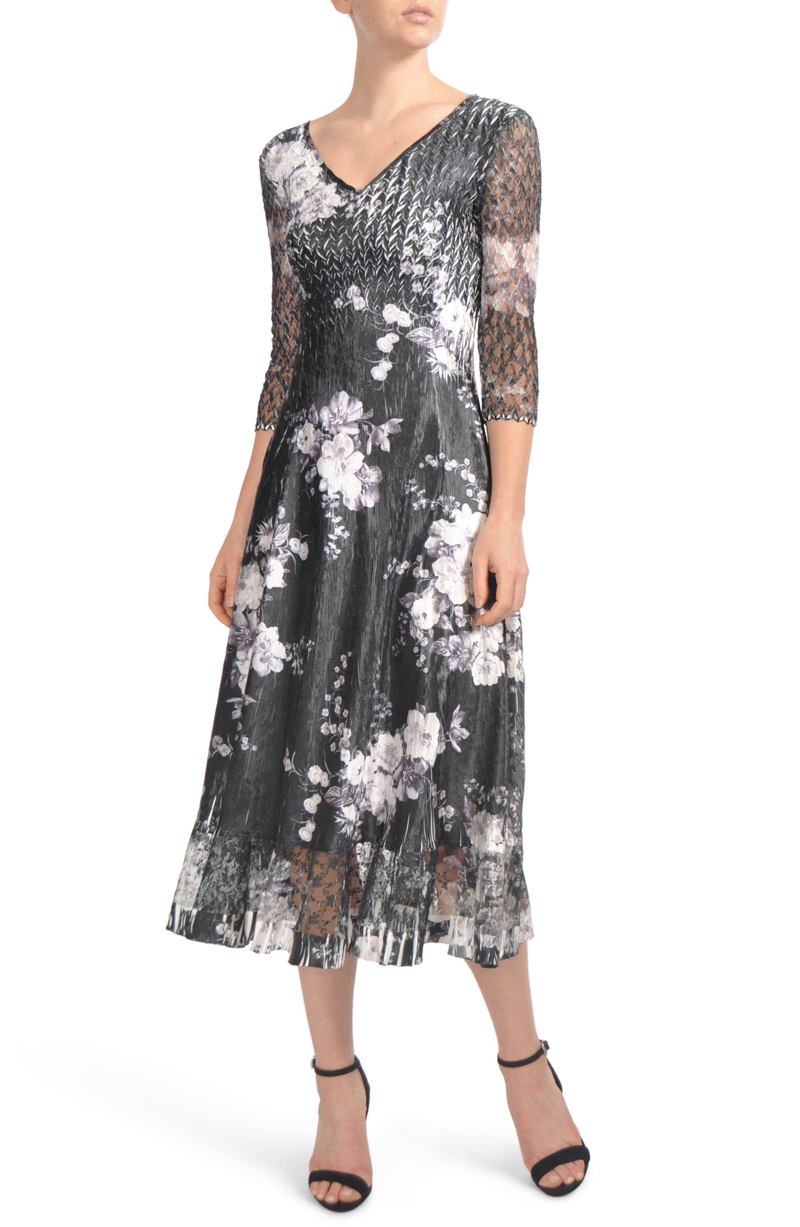 Floral Charmeuse & Lace Tea Length Dress,                             Main thumbnail 1, color,                             Eclipse Meadow