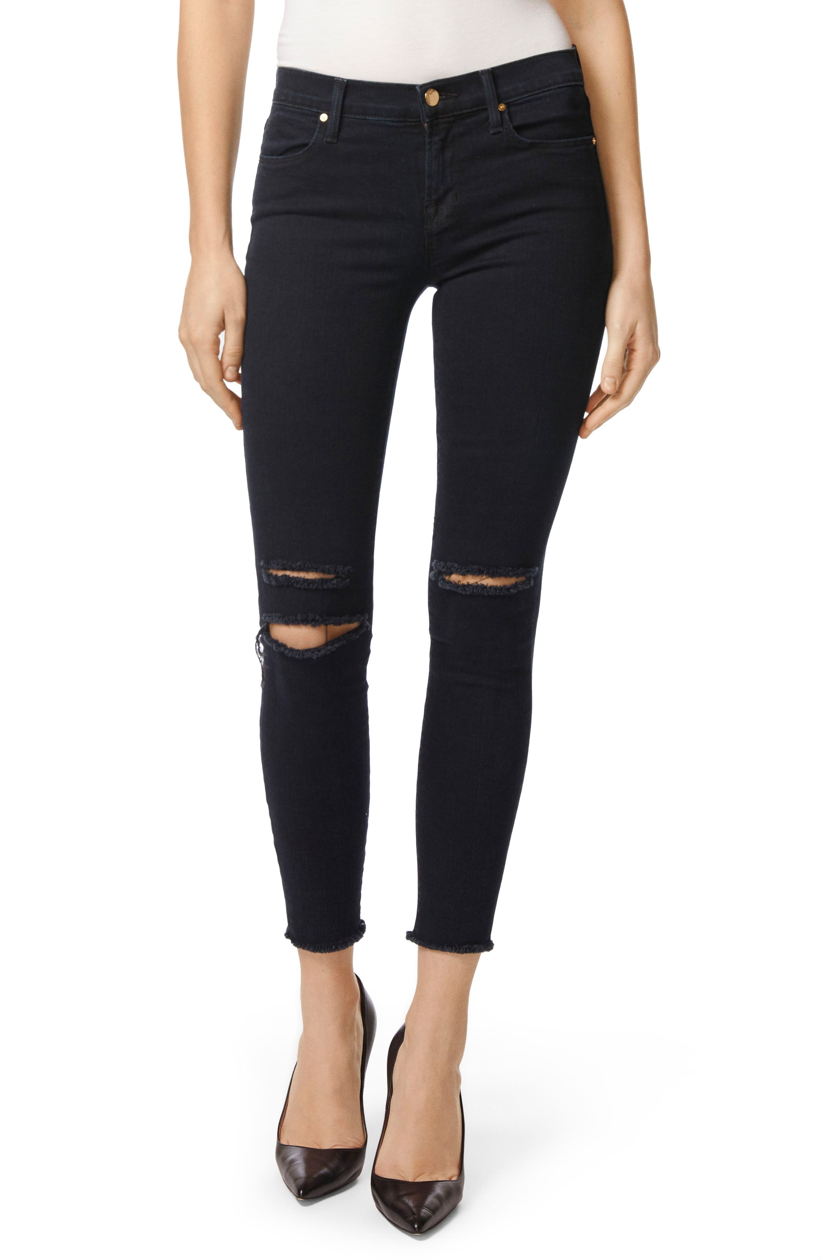J Brand 8227 Destroyed Crop Skinny Ankle Jeans (Photo Ready Blue Mercy)
