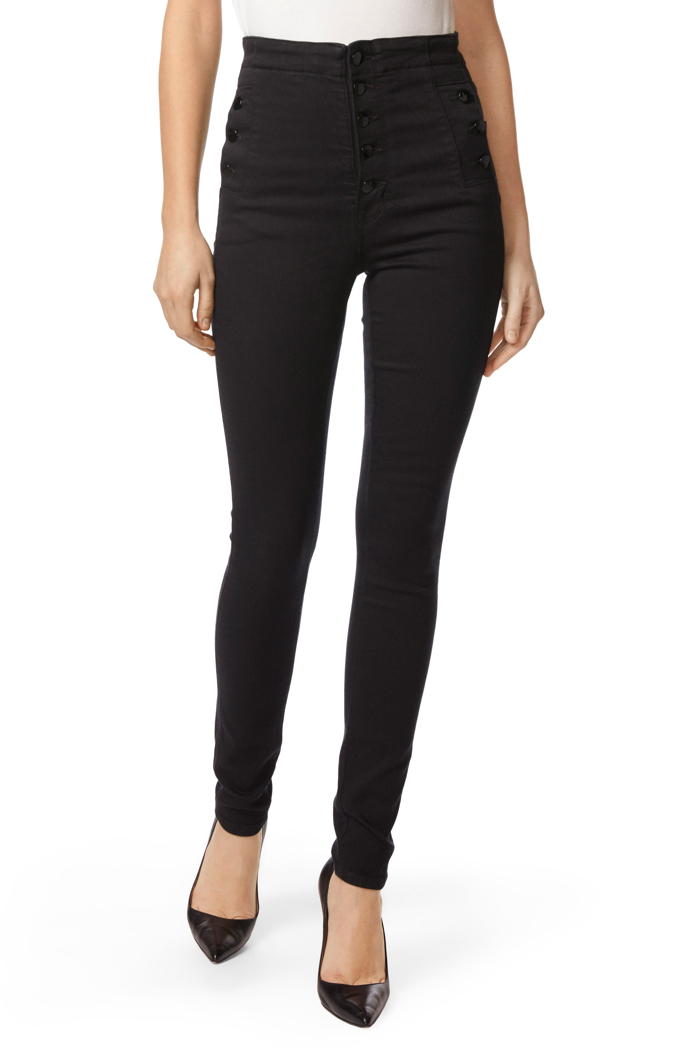 J Brand Natasha Sky High High Waist Super Skinny Jeans (Seriously Black)