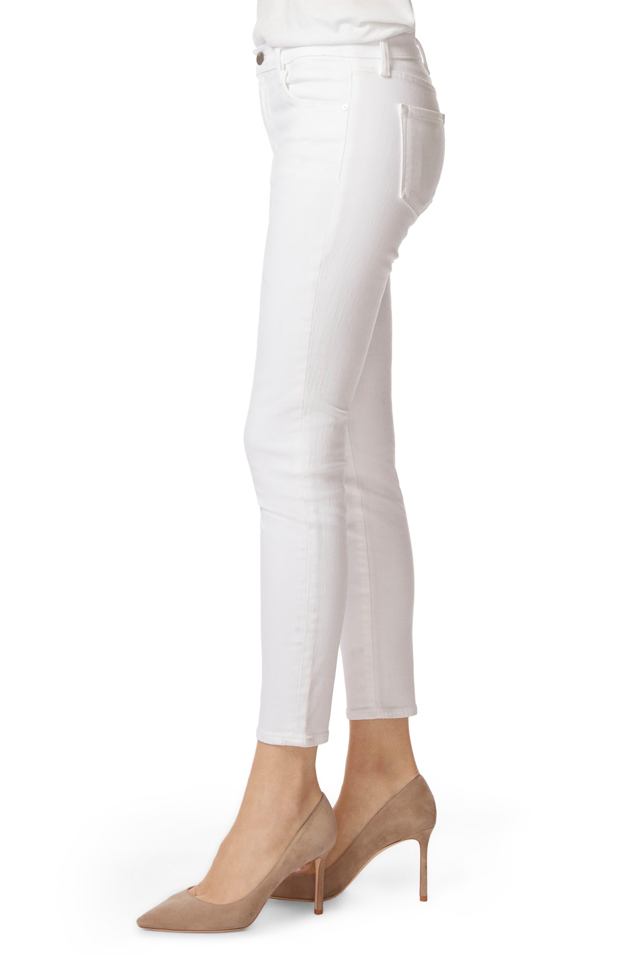Mid-Rise Capri Skinny Jeans,                             Alternate thumbnail 3, color,                             White