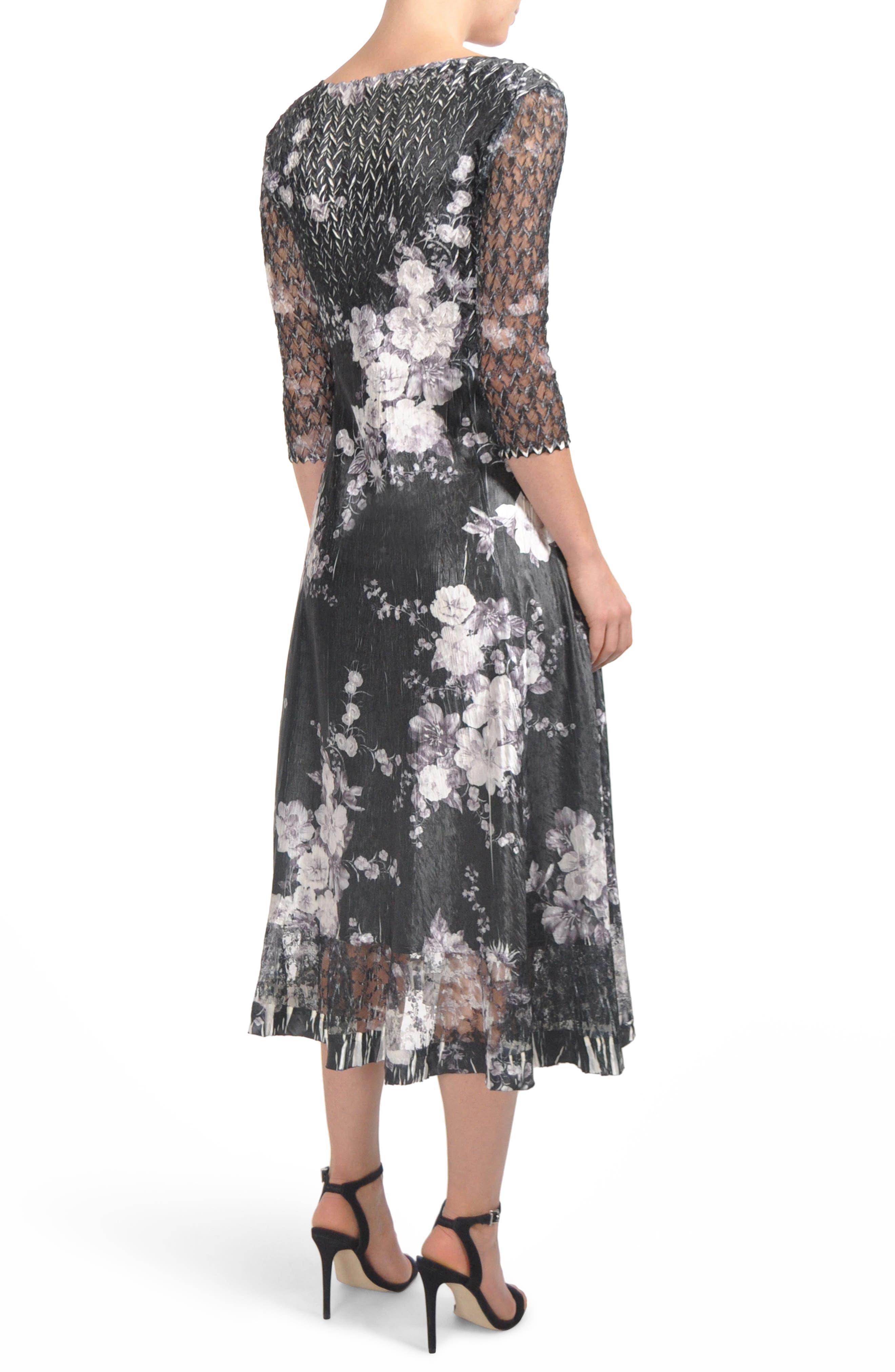 Floral Charmeuse & Lace Tea Length Dress,                             Alternate thumbnail 2, color,                             Eclipse Meadow