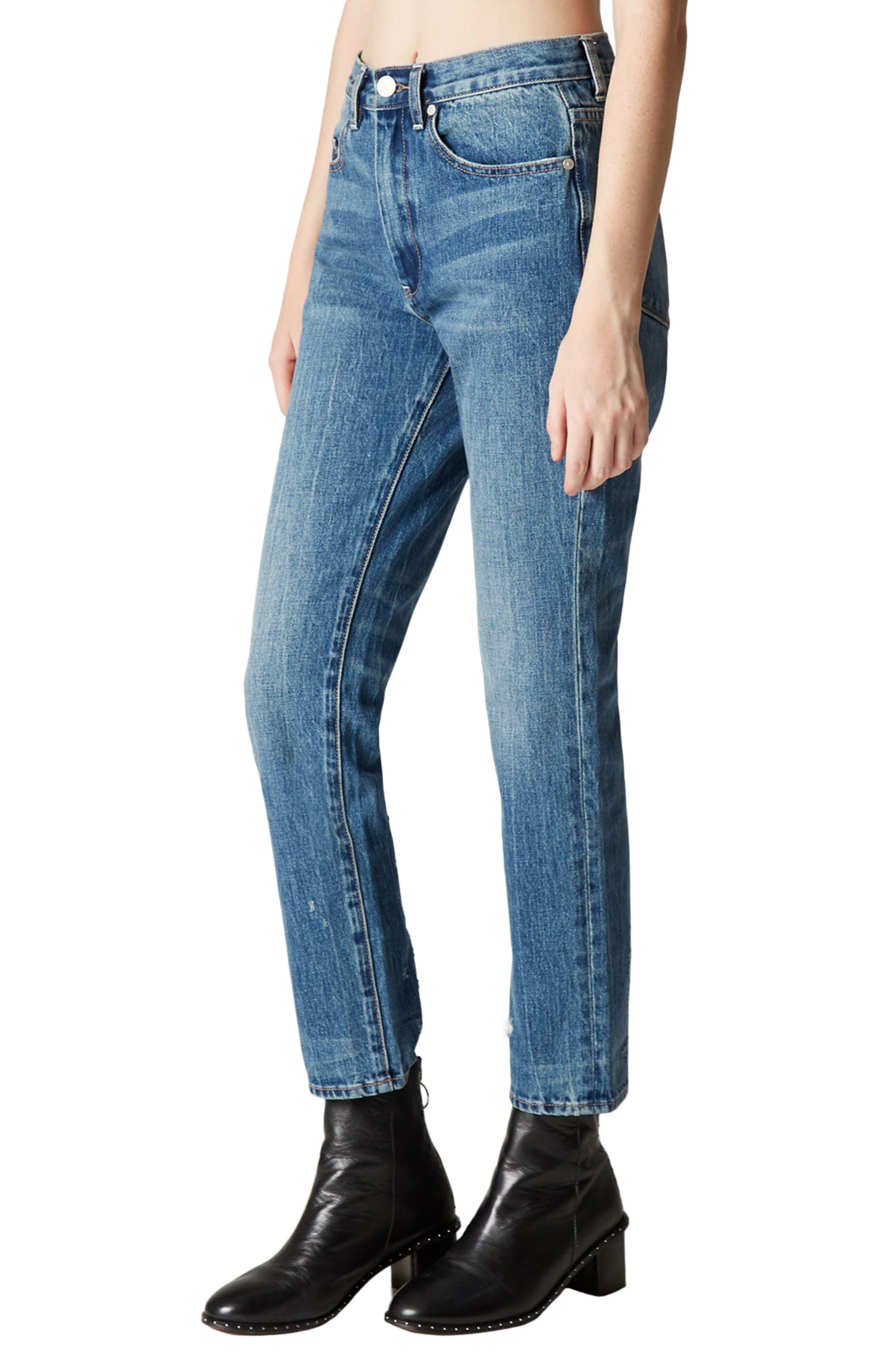 Empty Threat Straight Leg Jeans,                             Alternate thumbnail 4, color,                             Blue