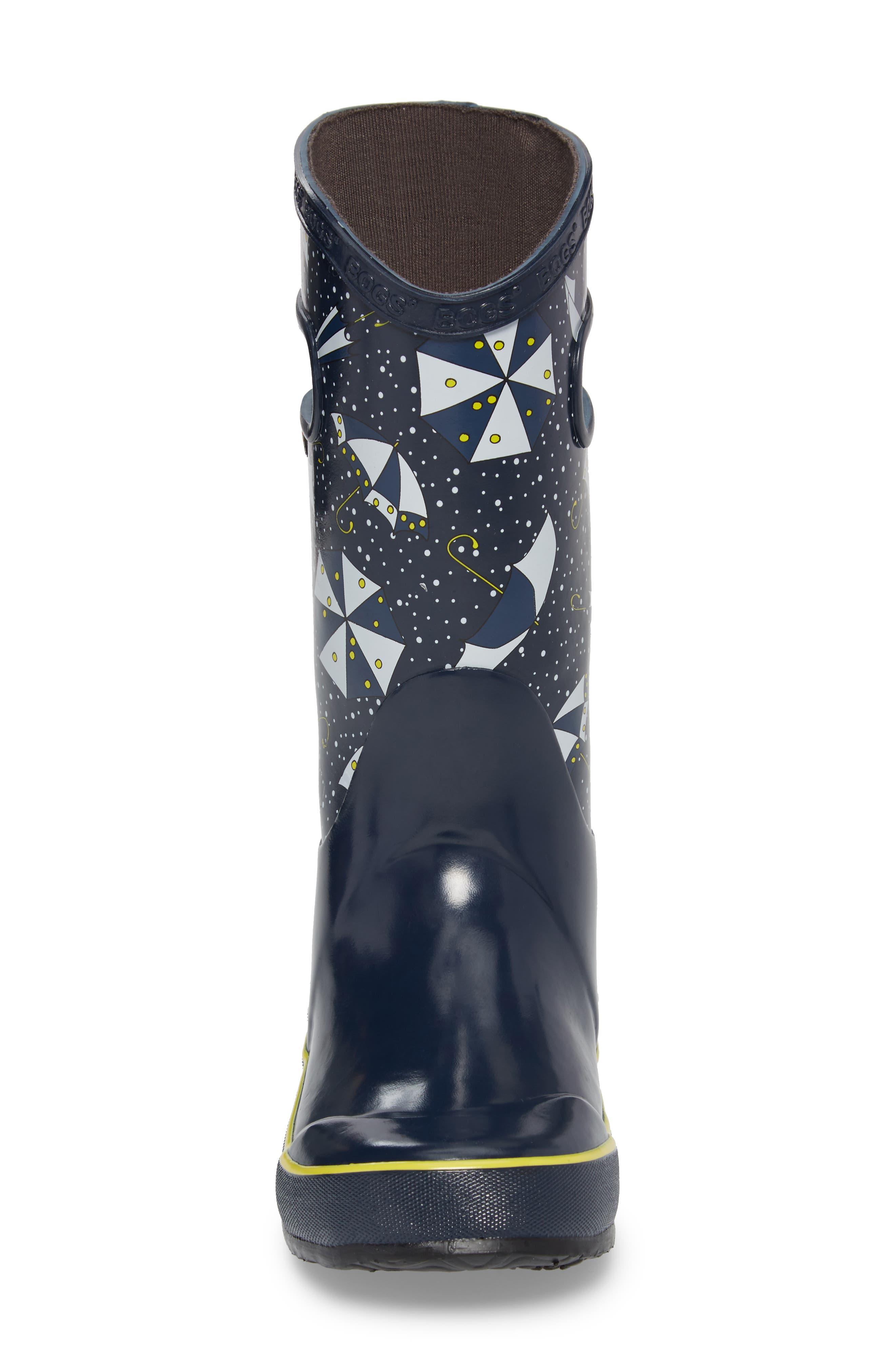 Umbrellas Waterproof Rubber Rain Boot,                             Alternate thumbnail 4, color,                             Dark Blue Multi