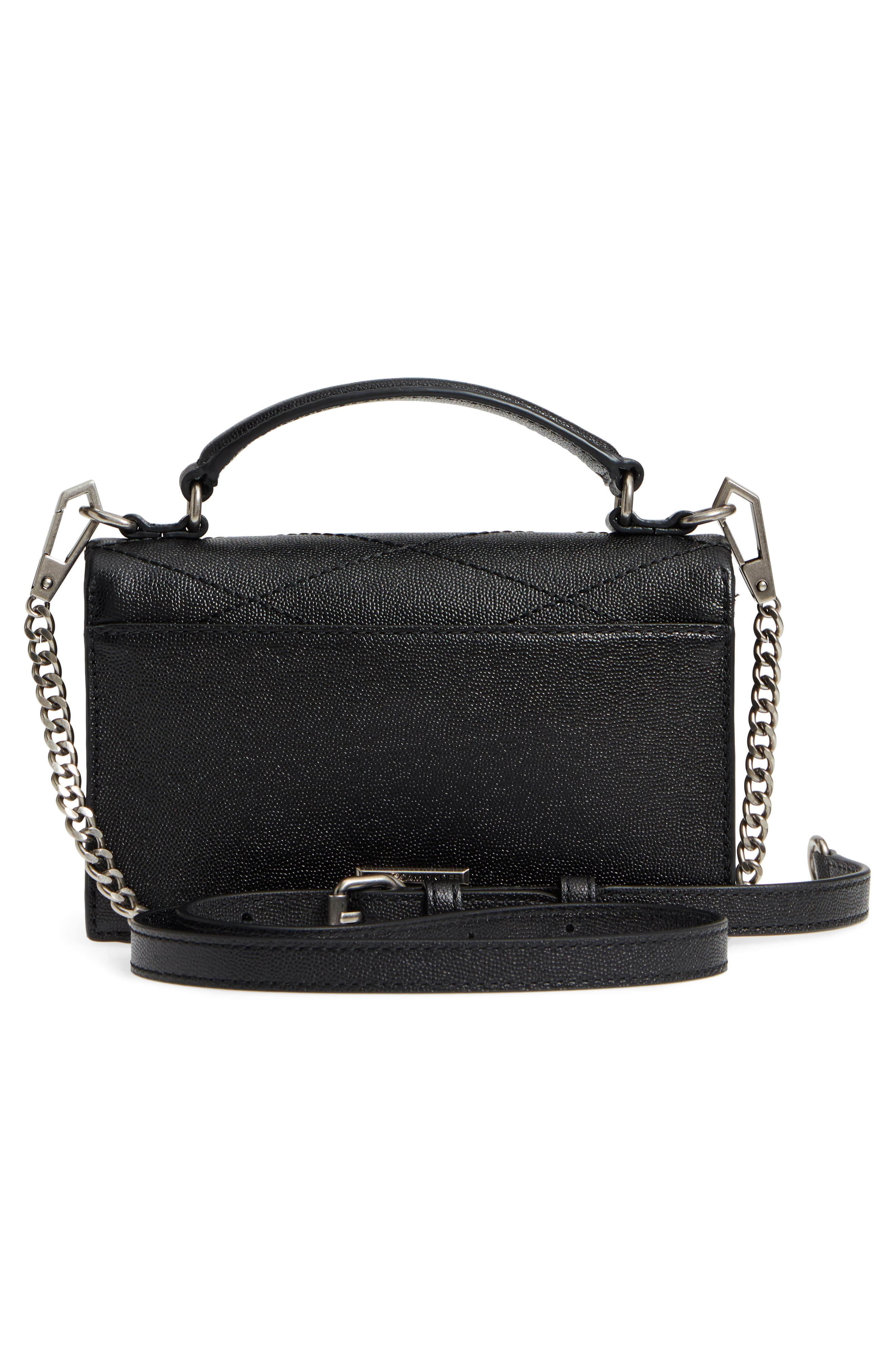 Small Je T'aime Leather Crossbody Bag,                             Alternate thumbnail 3, color,                             Black