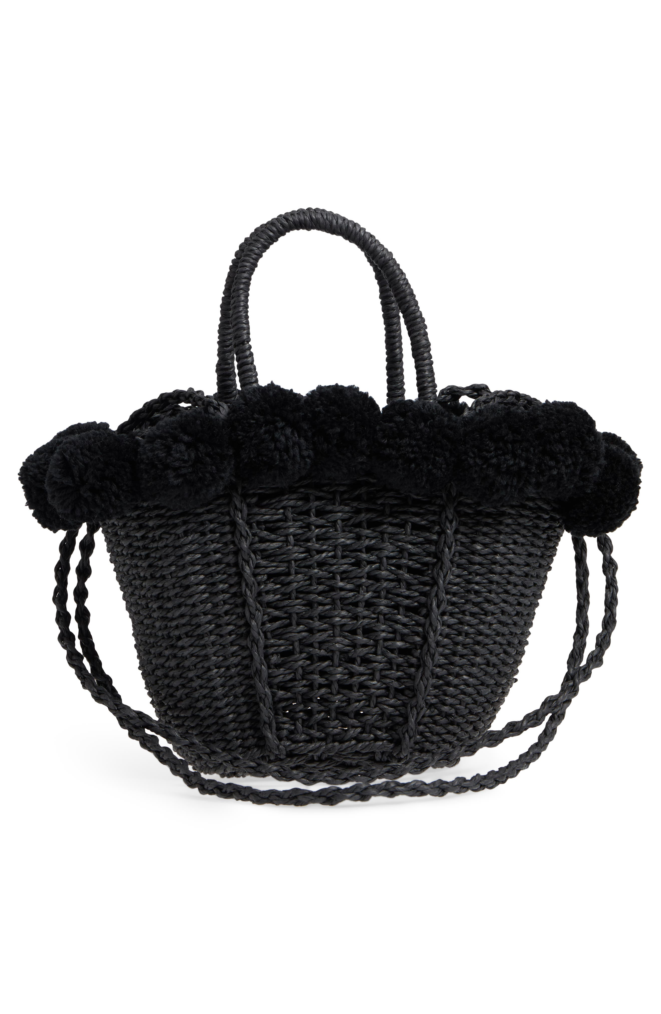 Sia Pom Straw Shopper Bag,                             Alternate thumbnail 3, color,                             Black