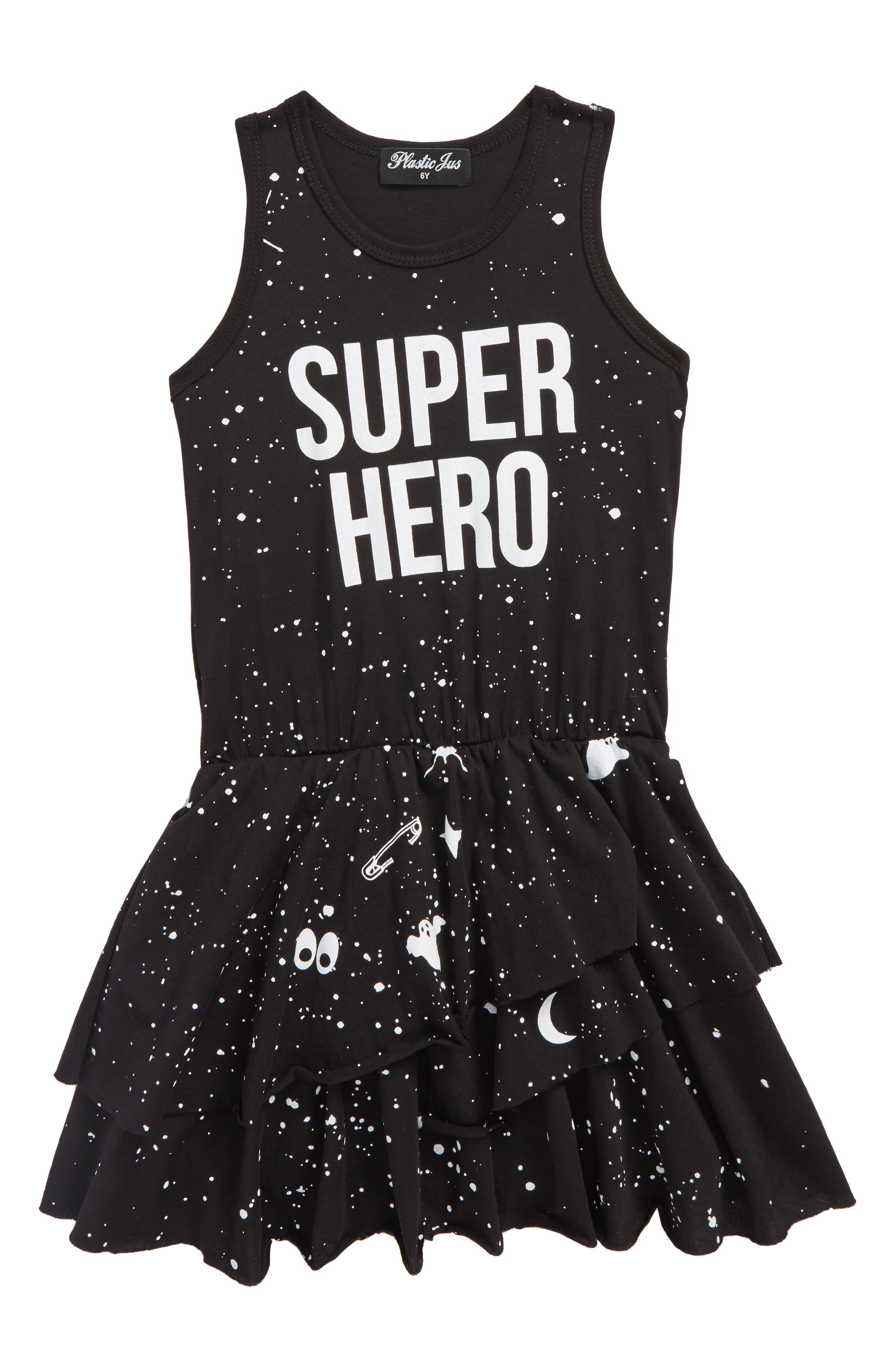 Super Hero Dress,                         Main,                         color, Black Super