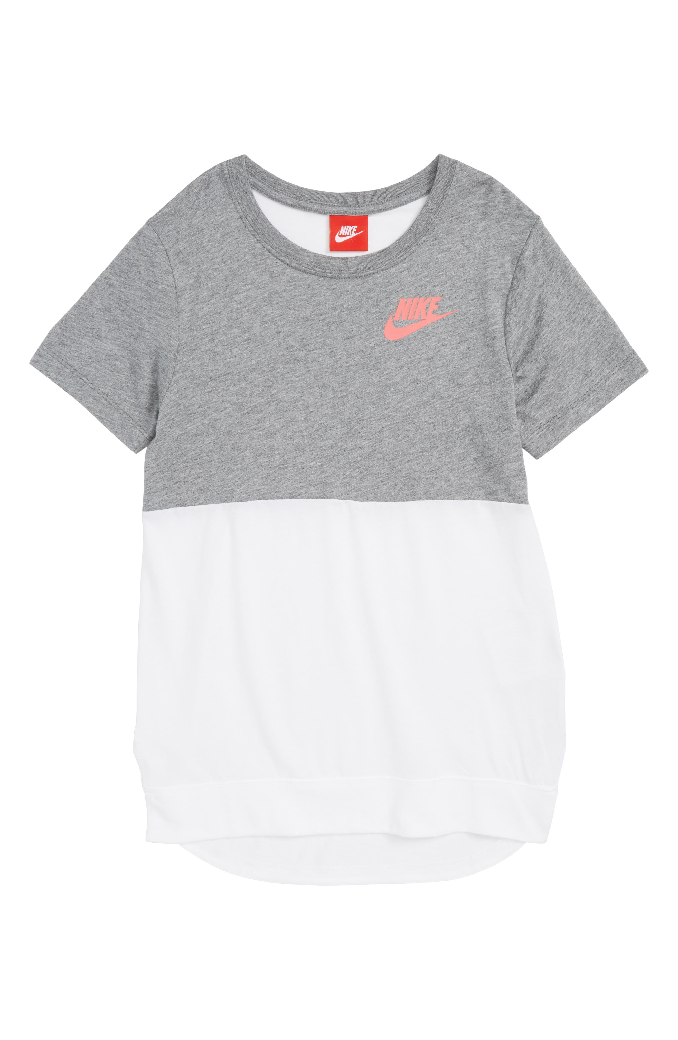 Sportswear Graphic Tee,                         Main,                         color, Carbon Heather/ White/ Coral