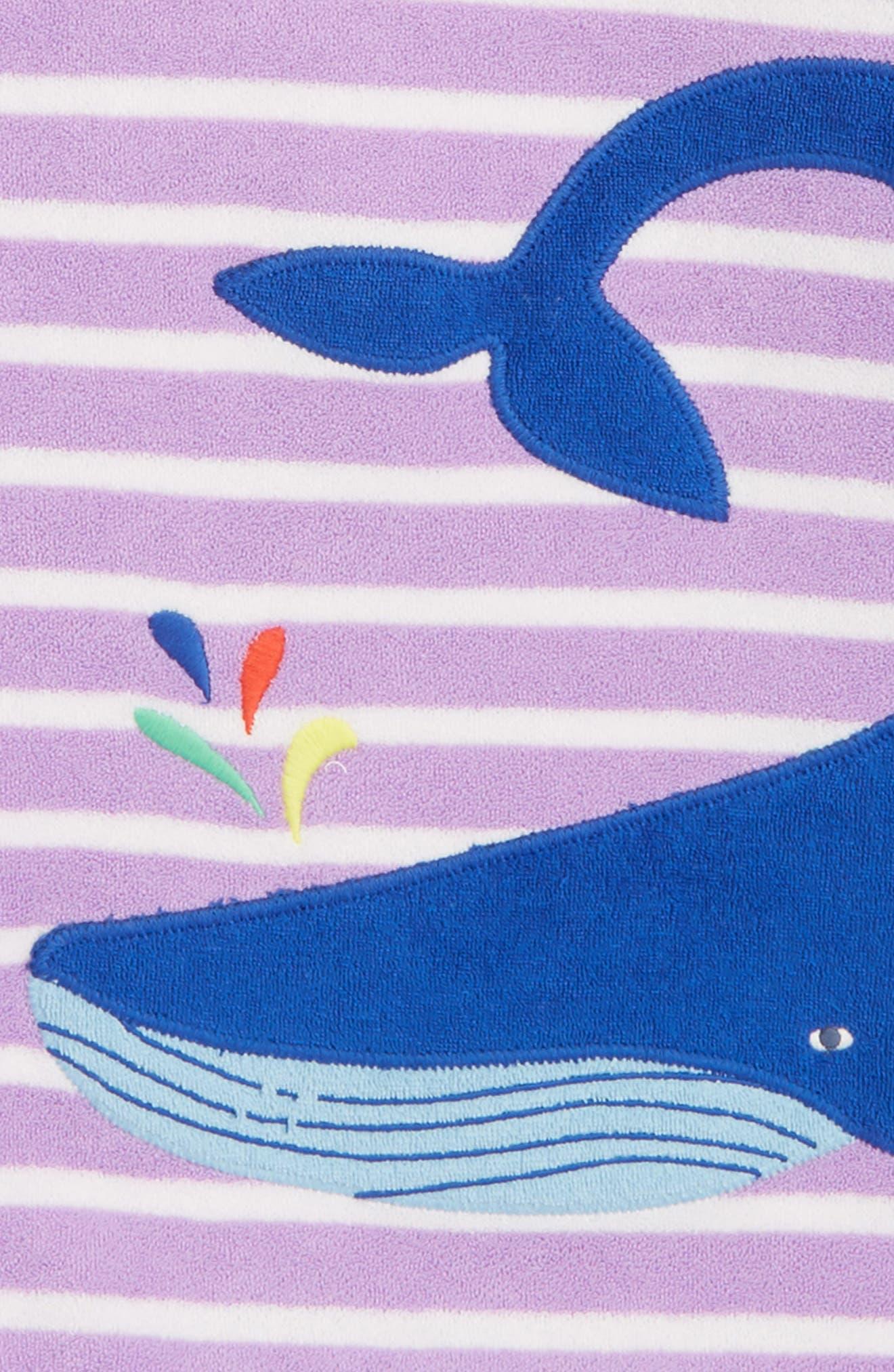 Appliqué Hooded Toweling Beach Dress,                             Alternate thumbnail 2, color,                             Lavender/ Ivory