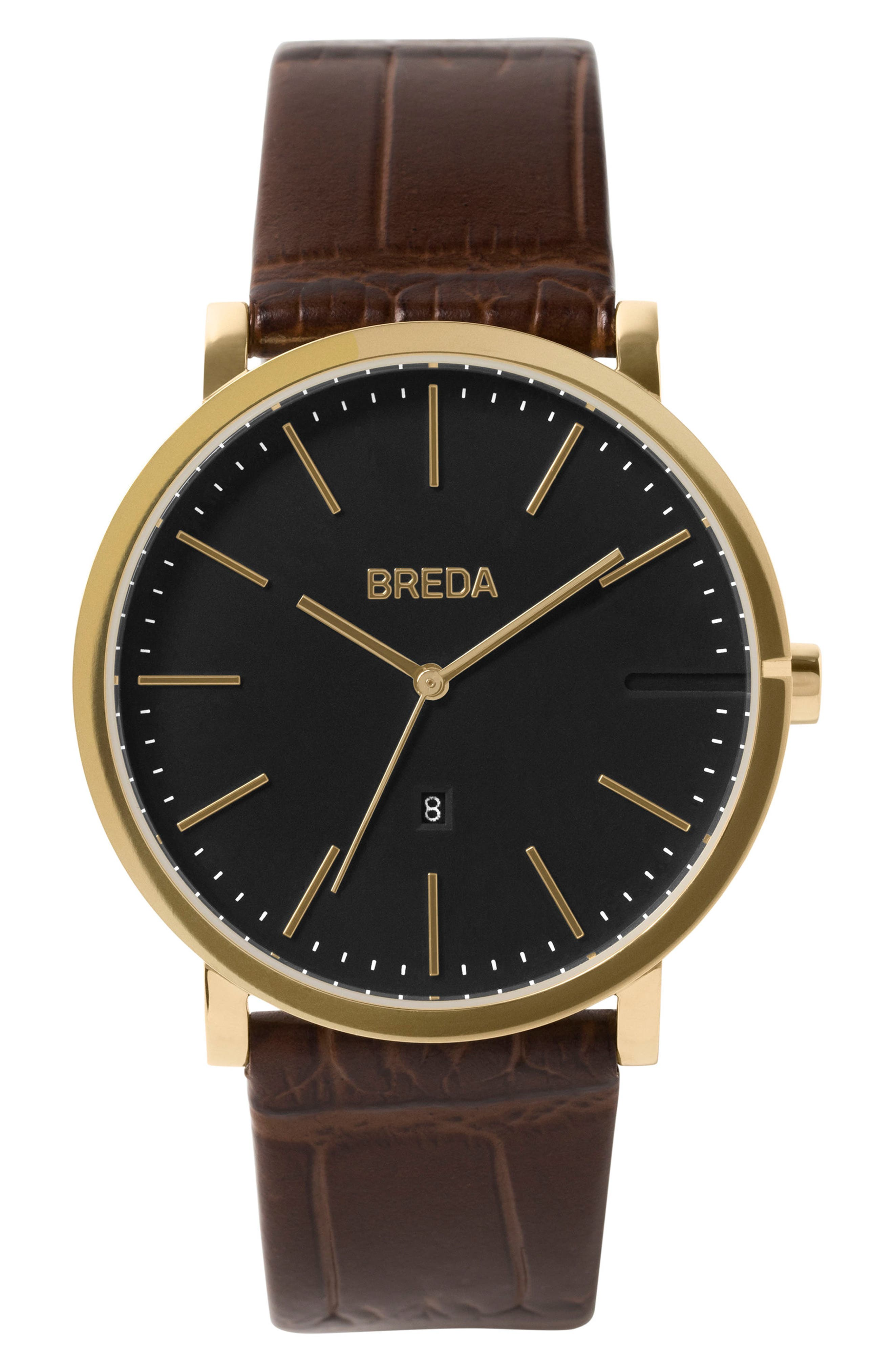 Breuer Leather Strap Watch, 39mm,                         Main,                         color, Brown/ Black/ Gold