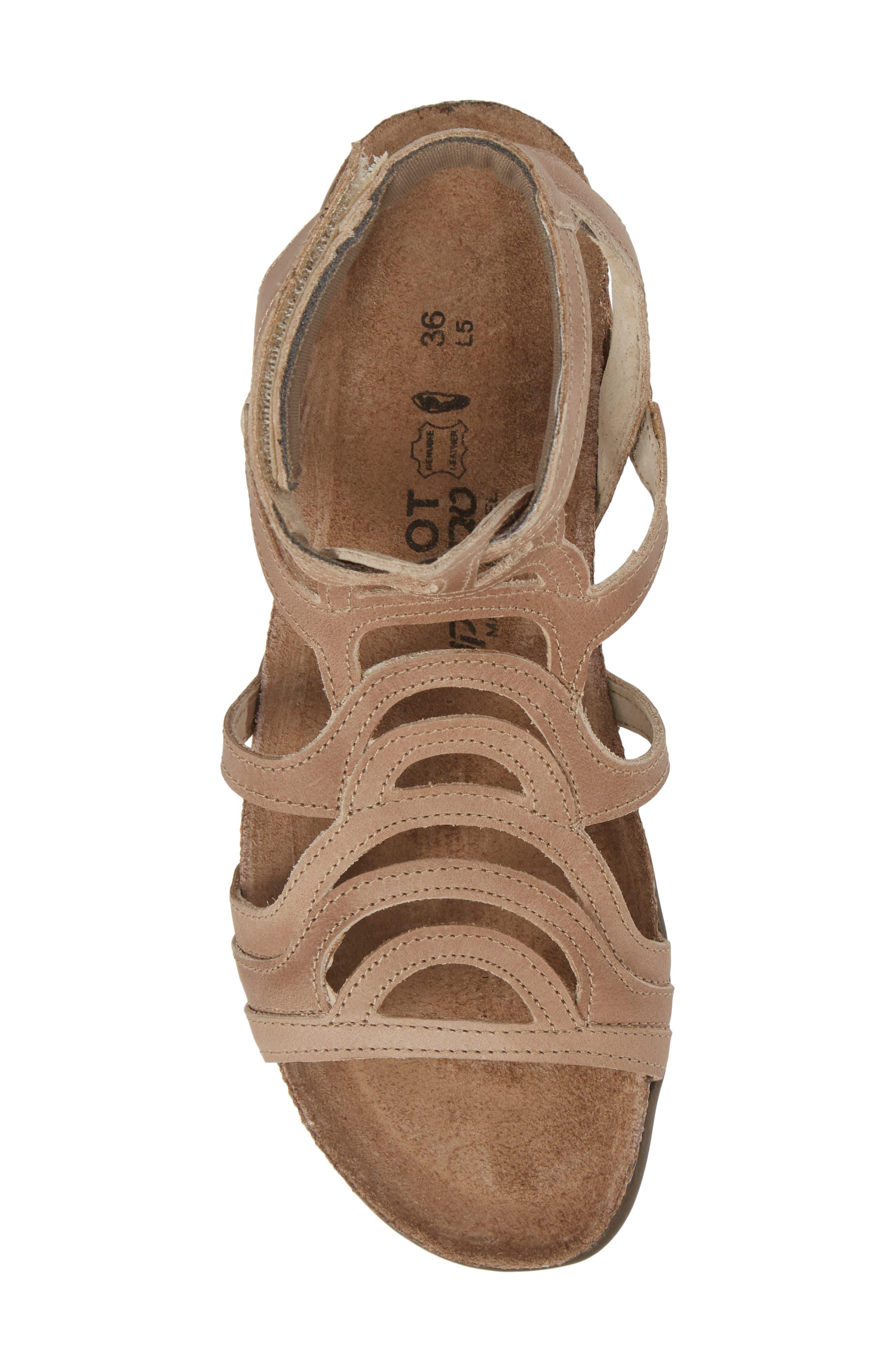 'Sara' Gladiator Sandal,                             Alternate thumbnail 5, color,                             Khaki Beige Leather