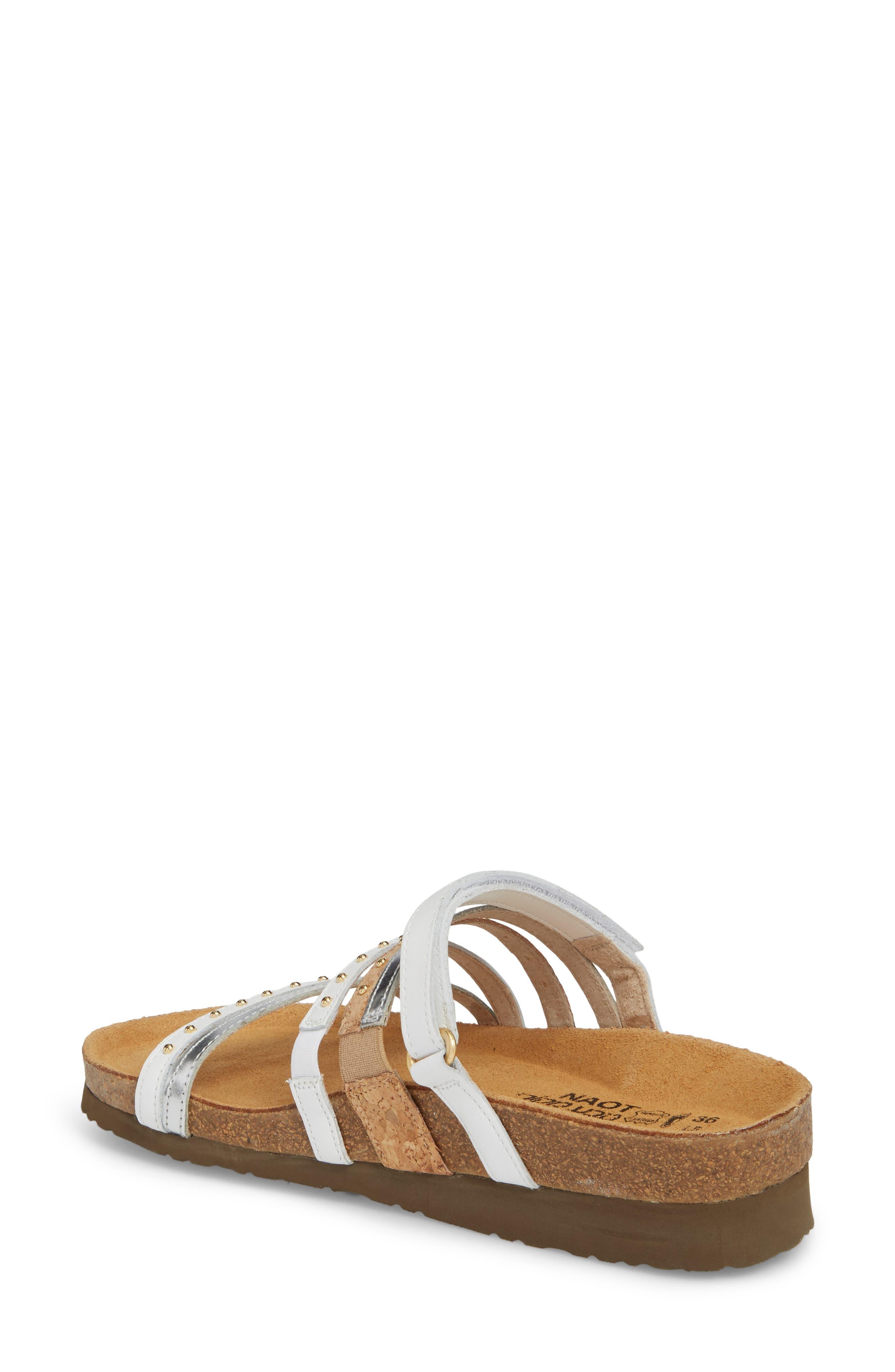 Prescott Sandal,                             Alternate thumbnail 2, color,                             White/ Silver Leather