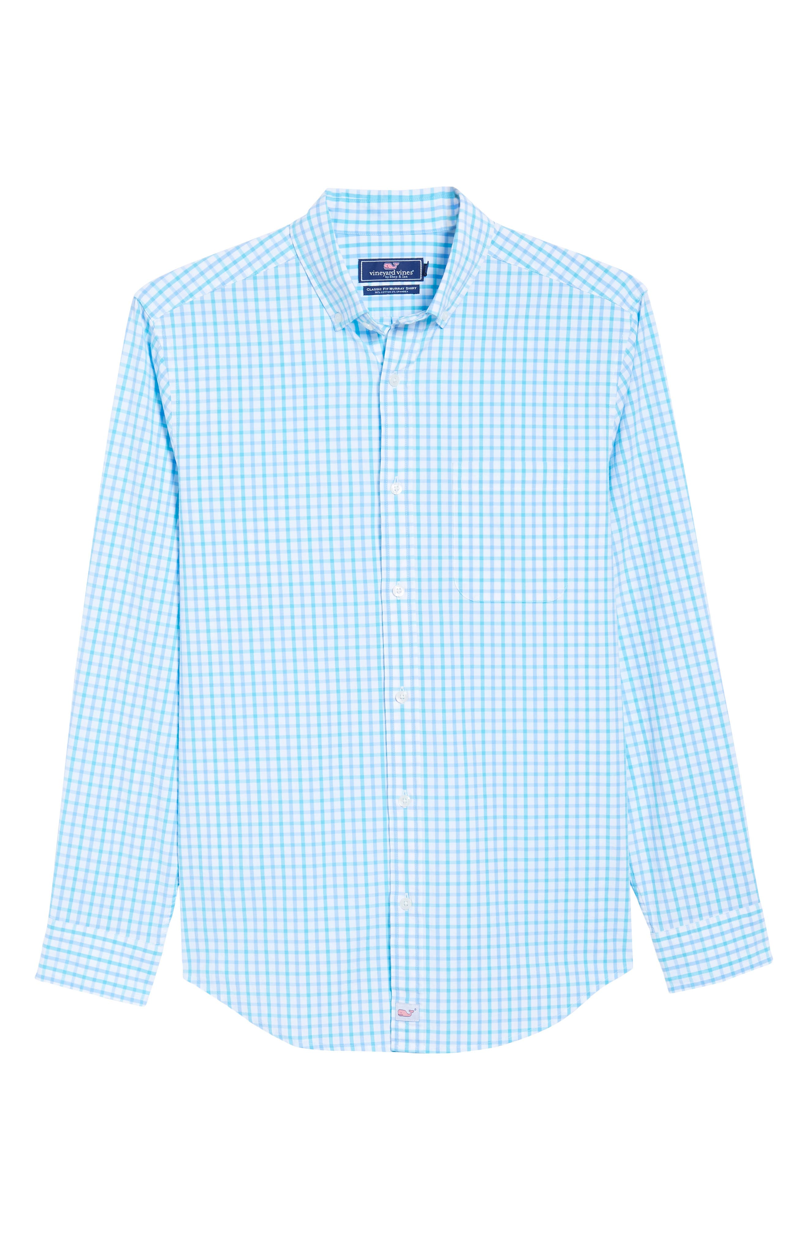 The Marls Classic Fit Stretch Check Sport Shirt,                             Alternate thumbnail 6, color,                             Turquoise