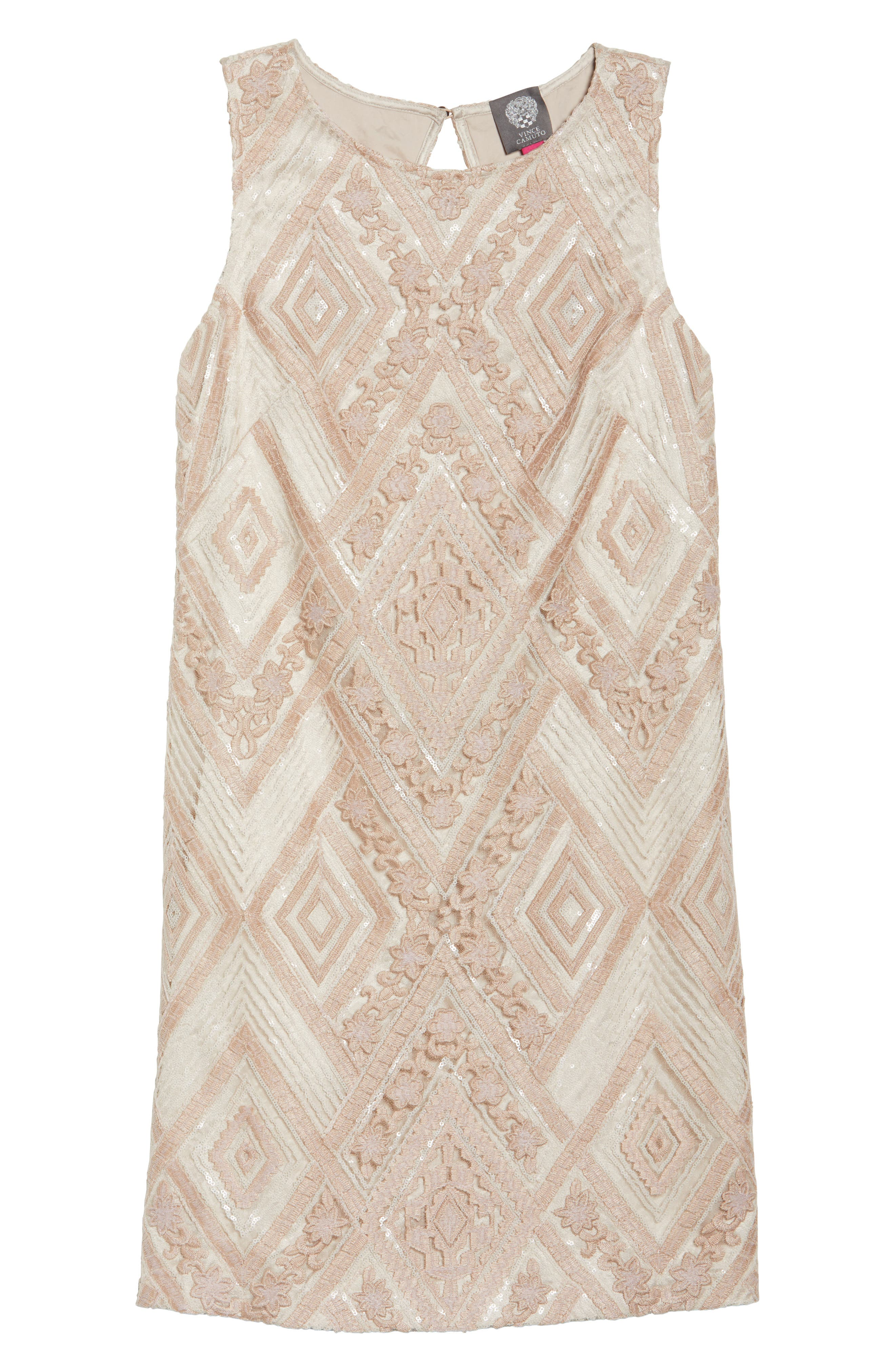 Sequin Embroidered Sheath Dress,                             Alternate thumbnail 6, color,                             Blush