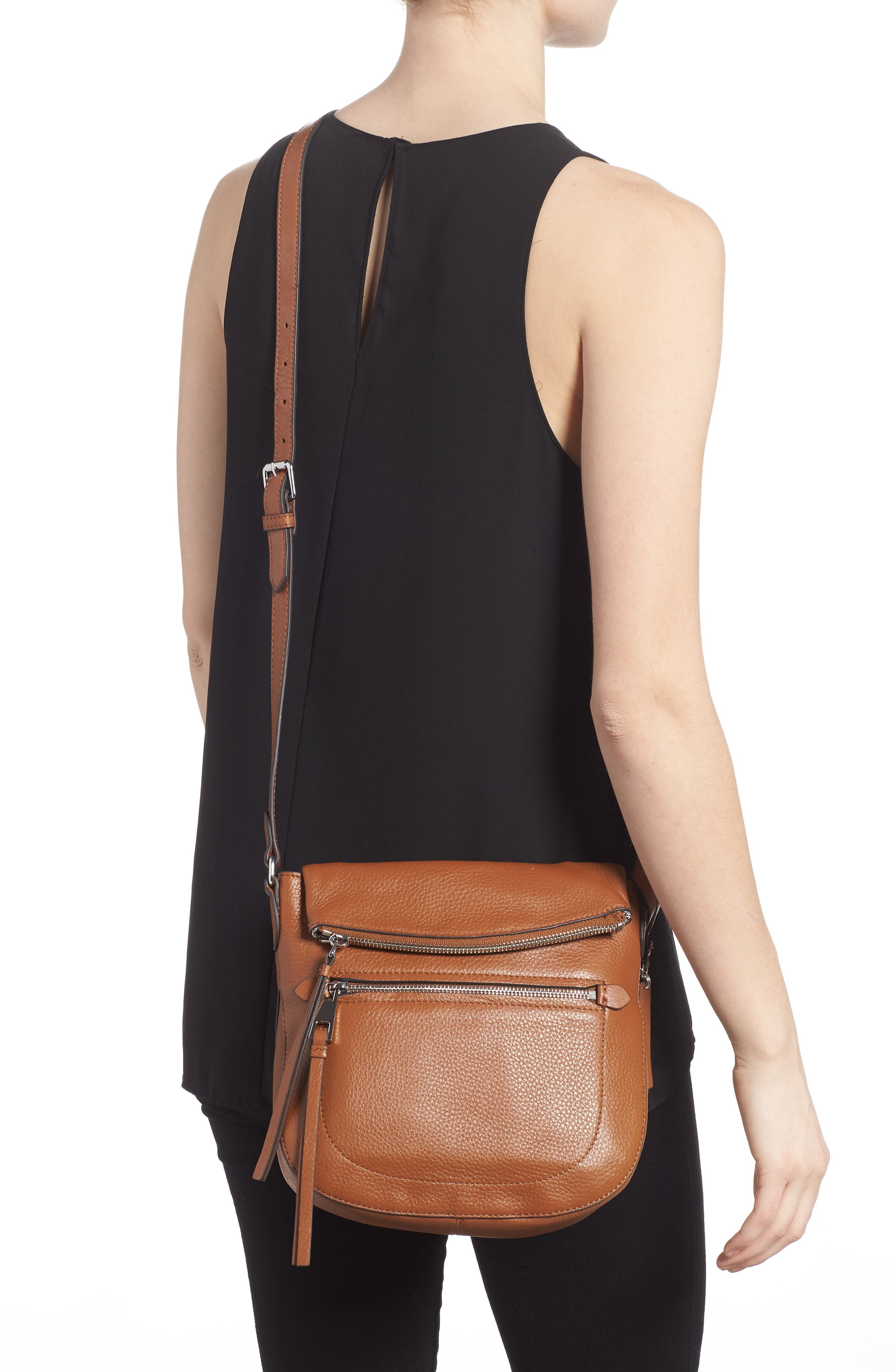 'Tala' Leather Crossbody Bag,                             Alternate thumbnail 2, color,                             Dark Rum