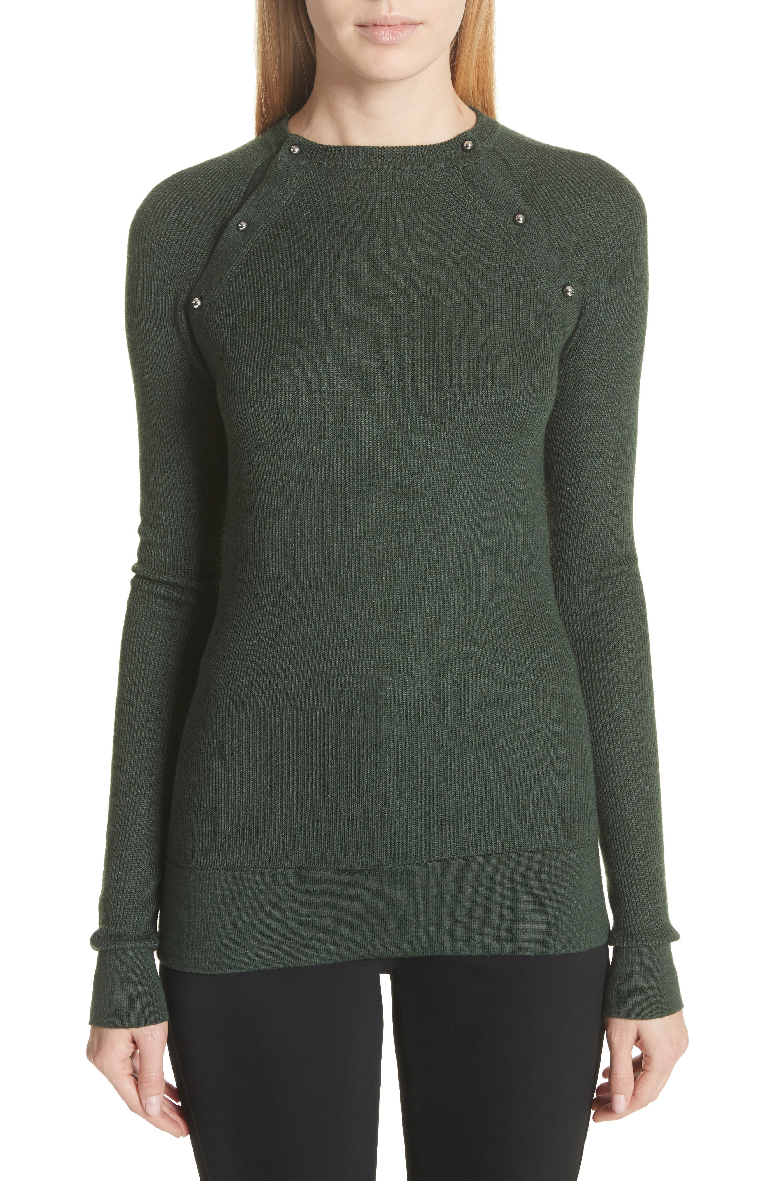 Button Seam Silk & Merino Wool Sweater,                         Main,                         color, Seaweed