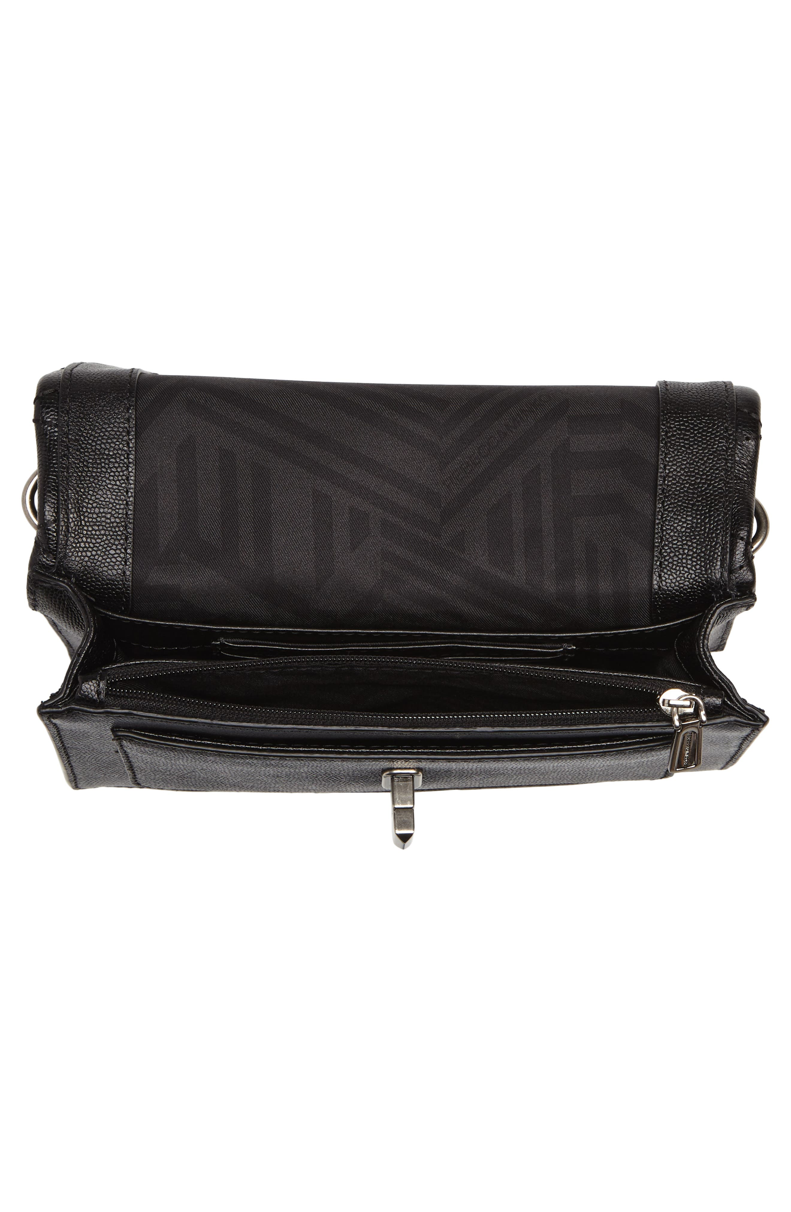 Small Je T'aime Leather Crossbody Bag,                             Alternate thumbnail 4, color,                             Black