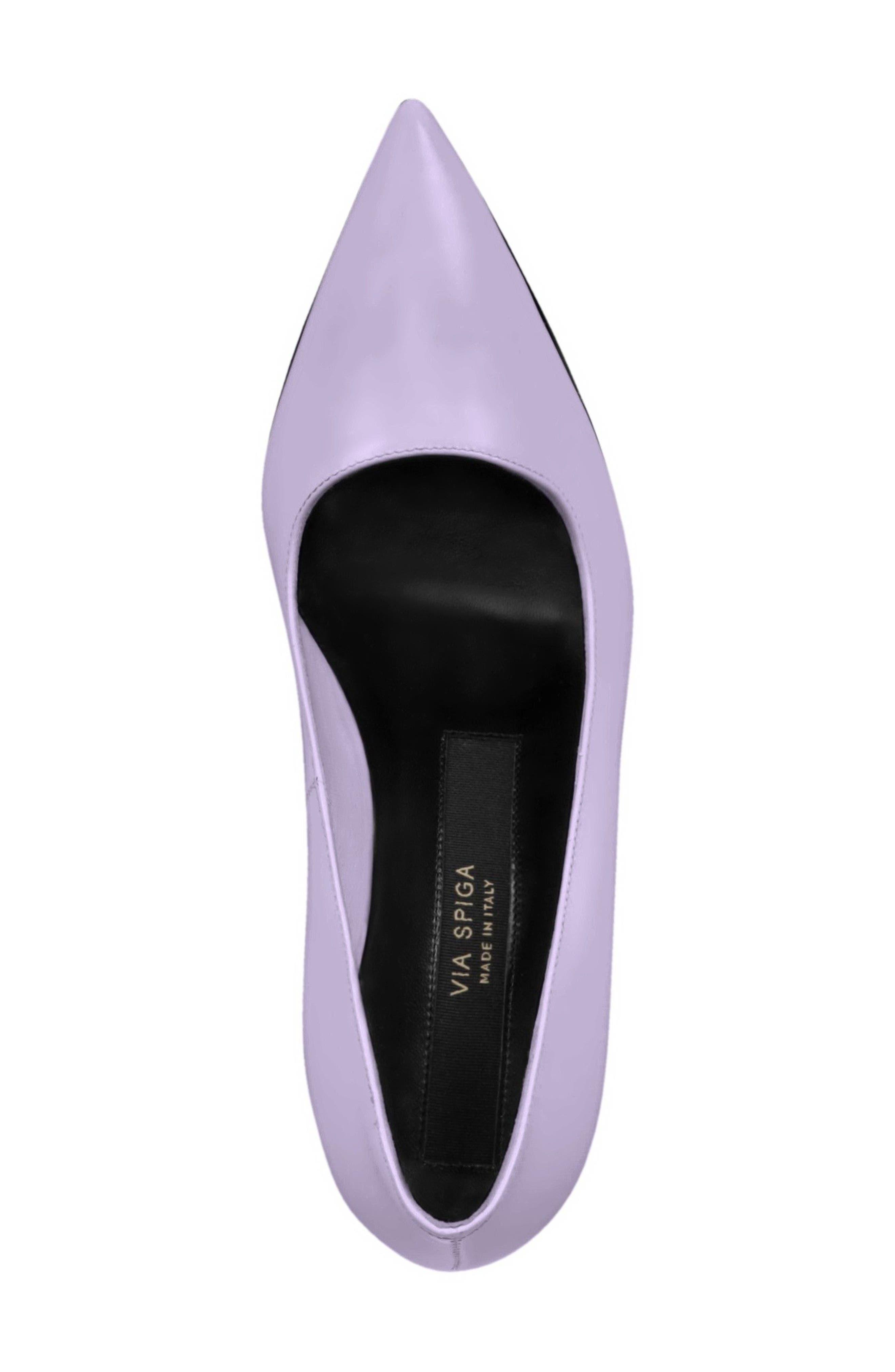 Nikole Pointy Toe Pump,                             Alternate thumbnail 5, color,                             Lilac Leather