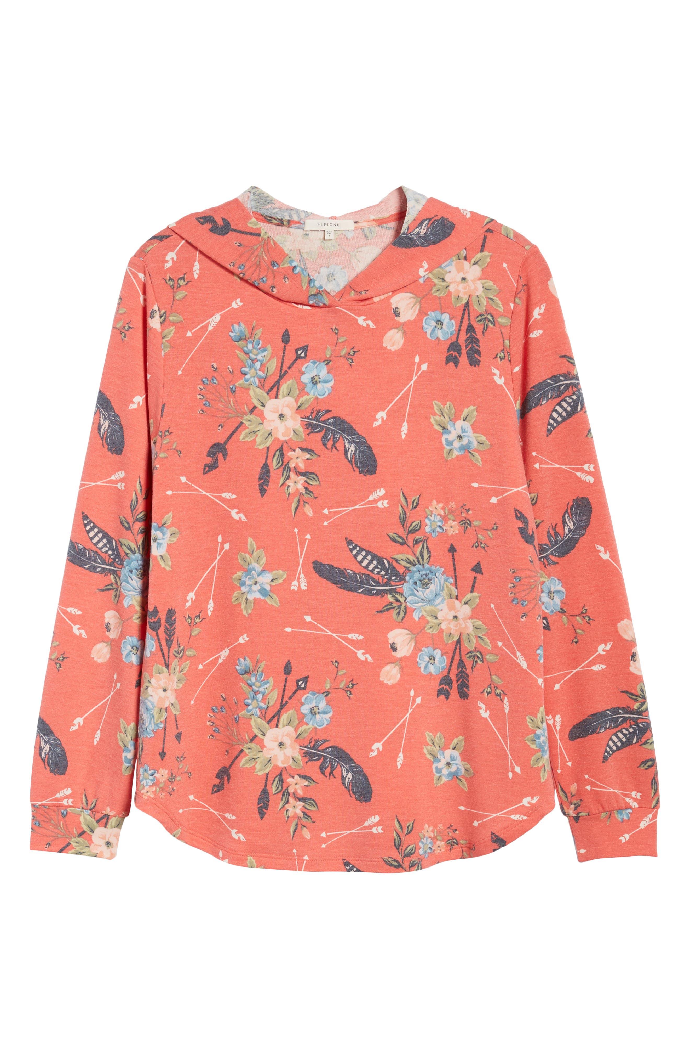 Printed Hoodie Sweatshirt,                             Alternate thumbnail 6, color,                             Coral Poppy