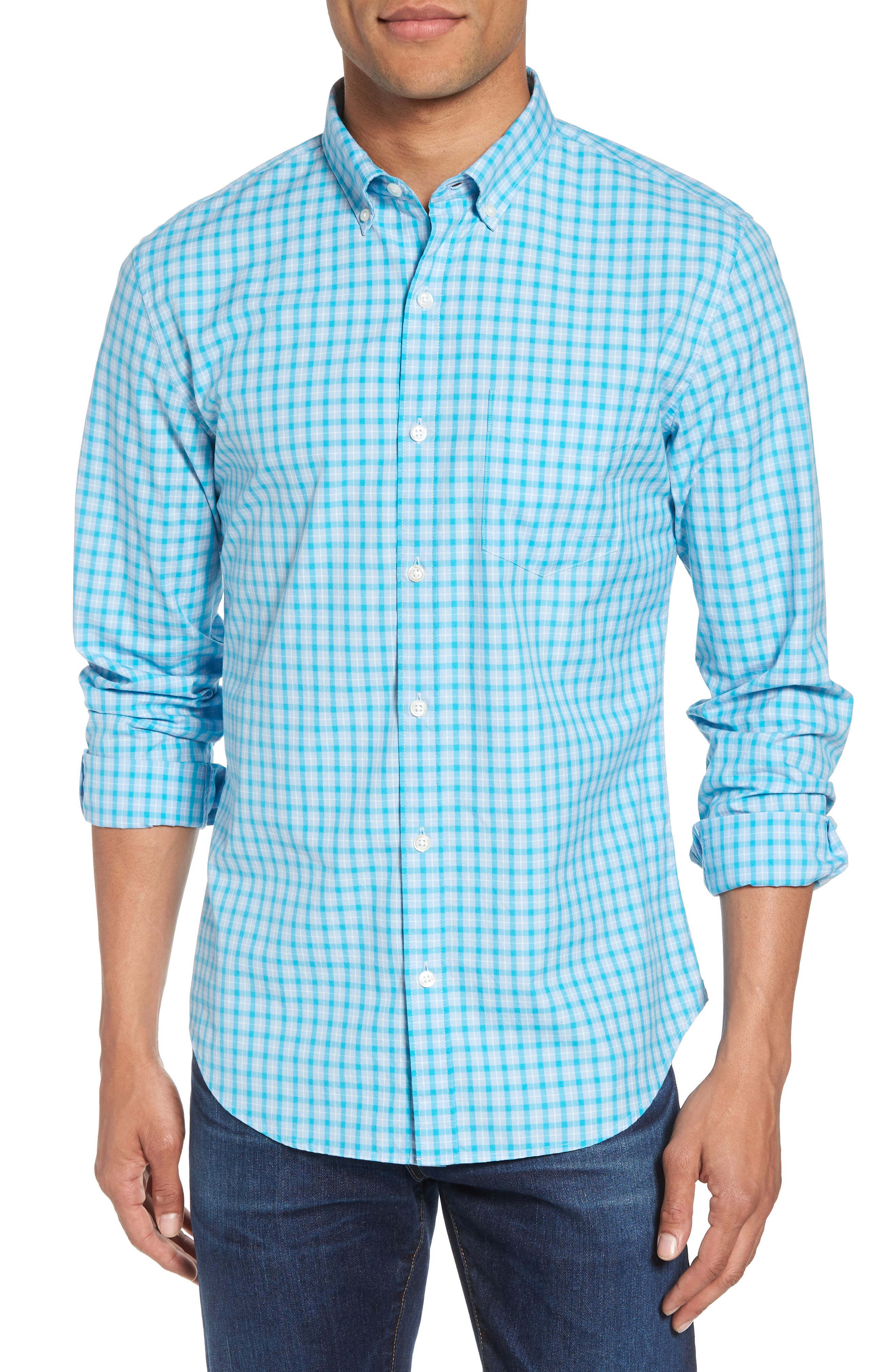Slim Fit Washed Check Sport Shirt,                         Main,                         color, Sea Glass Check - Ice Breaker