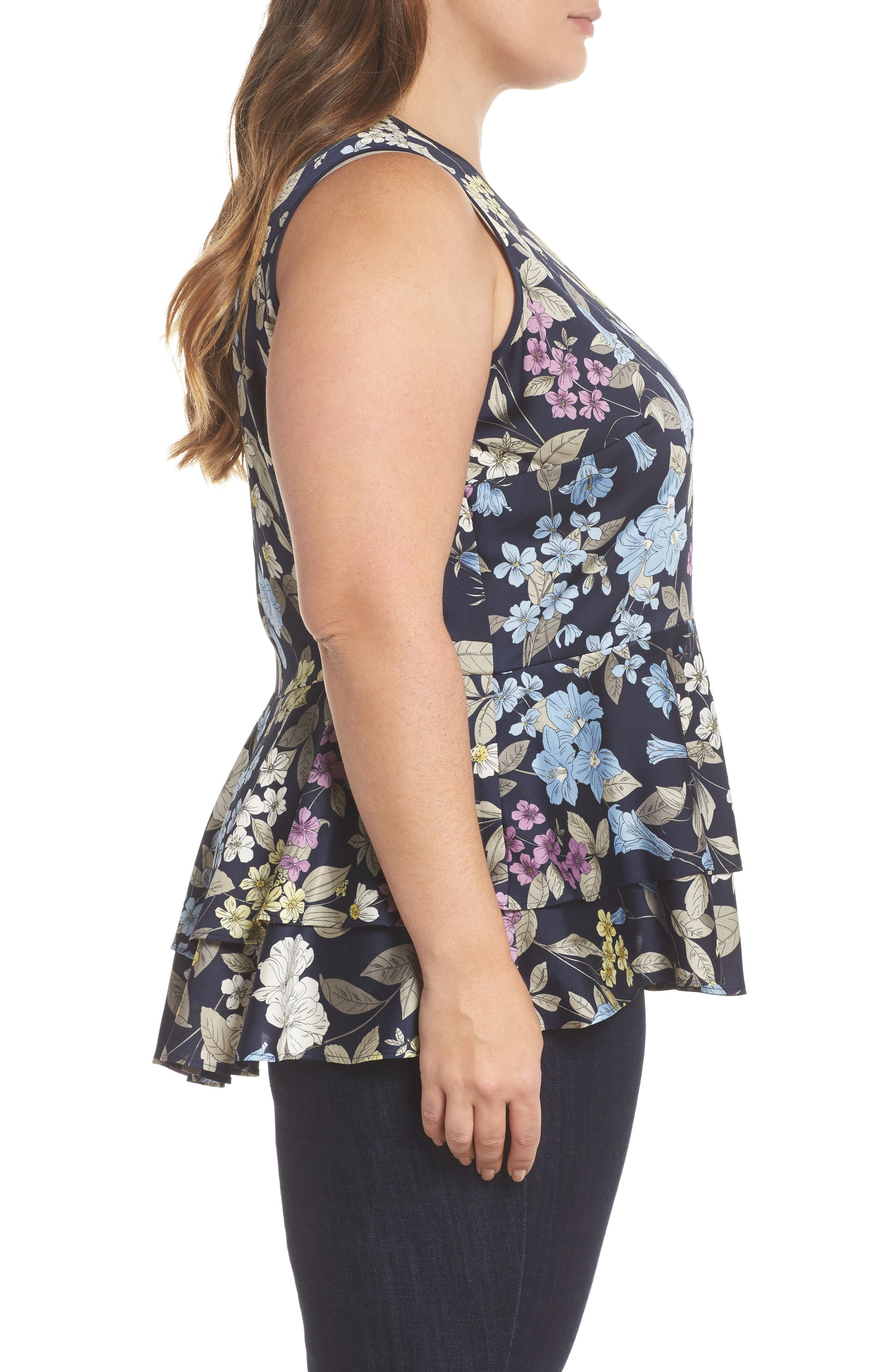 Country Floral Ruffle Hem Top,                             Alternate thumbnail 3, color,                             Night Sky